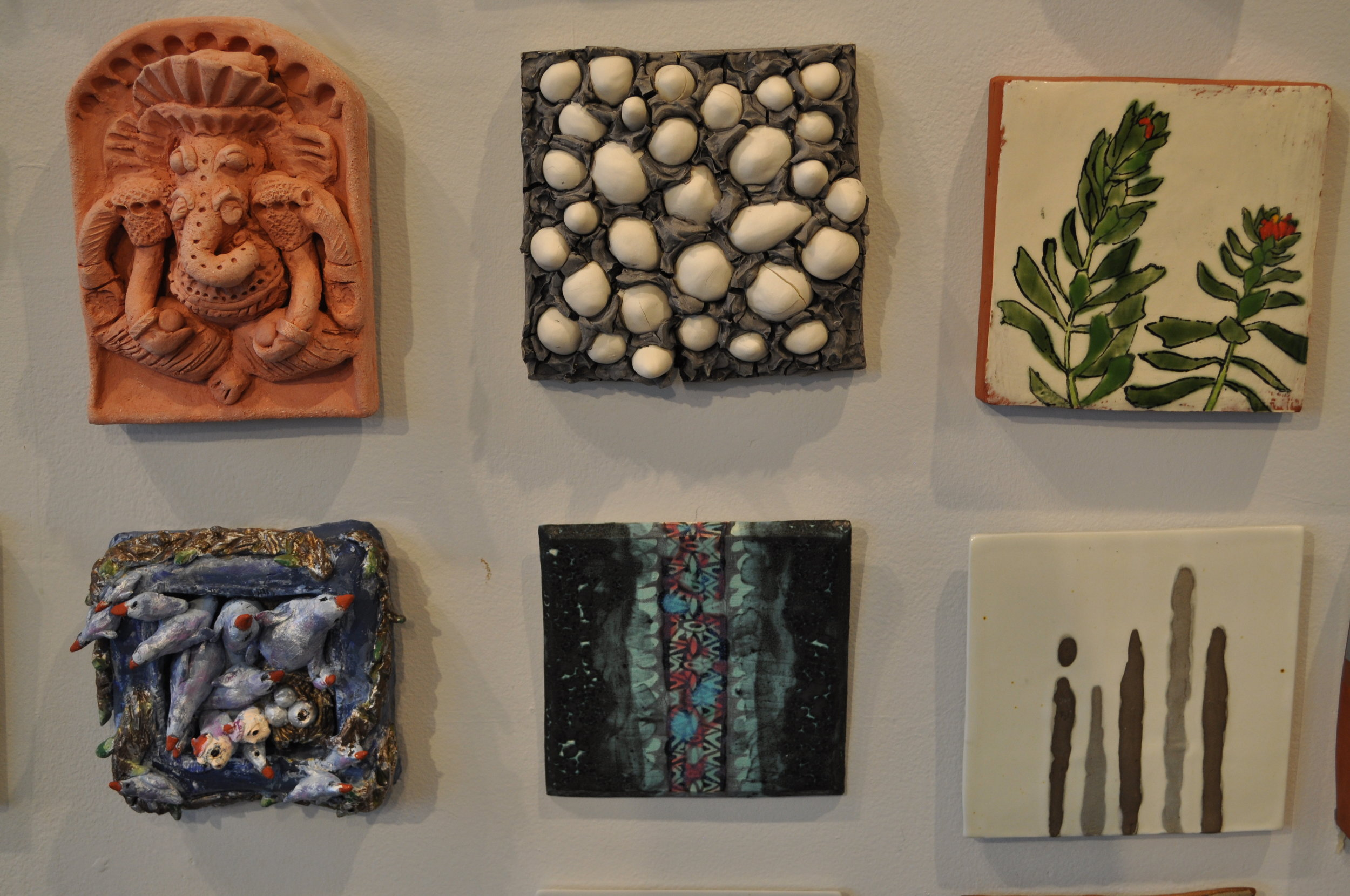 1.  Natalie Kase,  Untitled,  $65  2.  Tabbatha Henry,  Earth $125   3.  Ursula Hargens, Small Tile (Leedy's Roseroot) $100  4 .Sue Anne Heller  Birds with Human Faces  $30  5.  Kelley Donahue  Dystopic Beauty  $100  6. Dalia Berman,  Untitled $65
