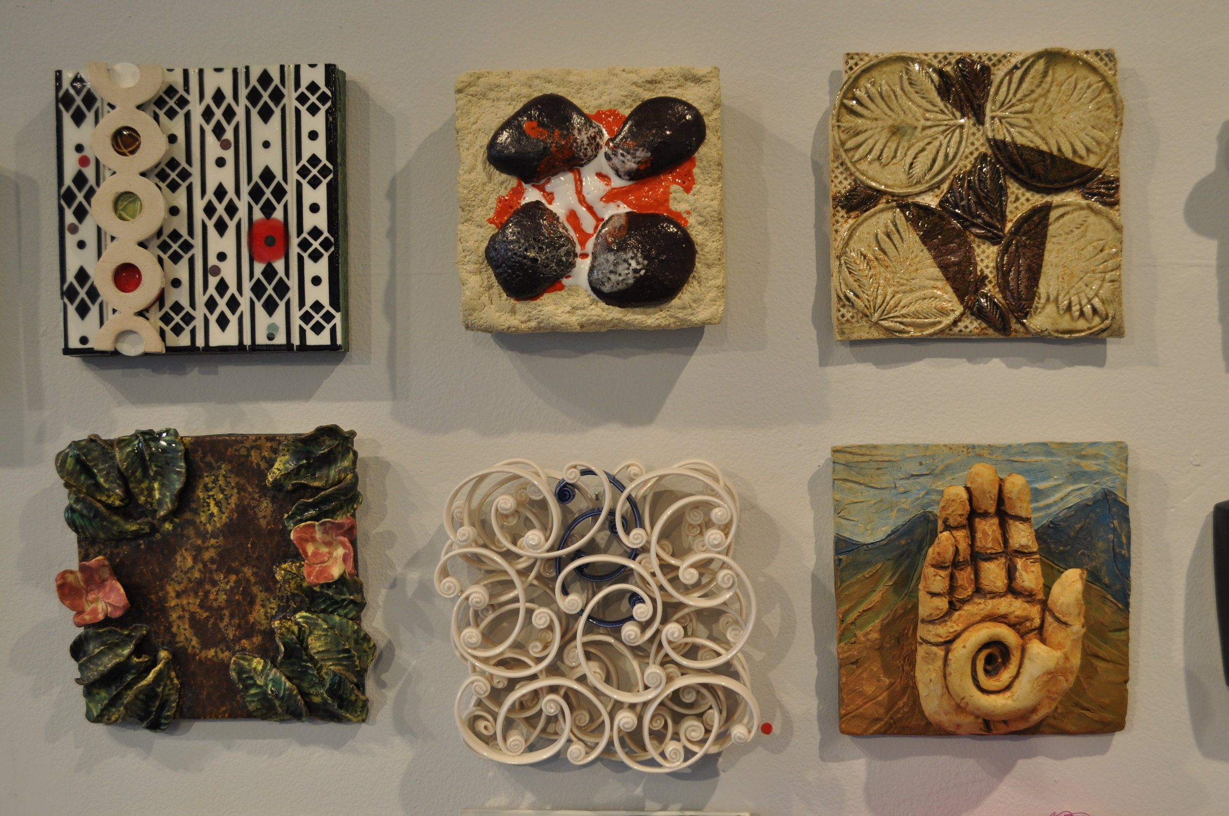1.  Susan Tunick,  Black Diamonds  $350  2.  Kitty Ross,  Lava  $250  3. Myra Bowie,  Circles in the square  $40  4. Lucy Breslin,  Tile 1  $80  5.  Michelle Tobia,  Untitled  SOLD  6.  Grace Fraioli,  Journey 1  $600