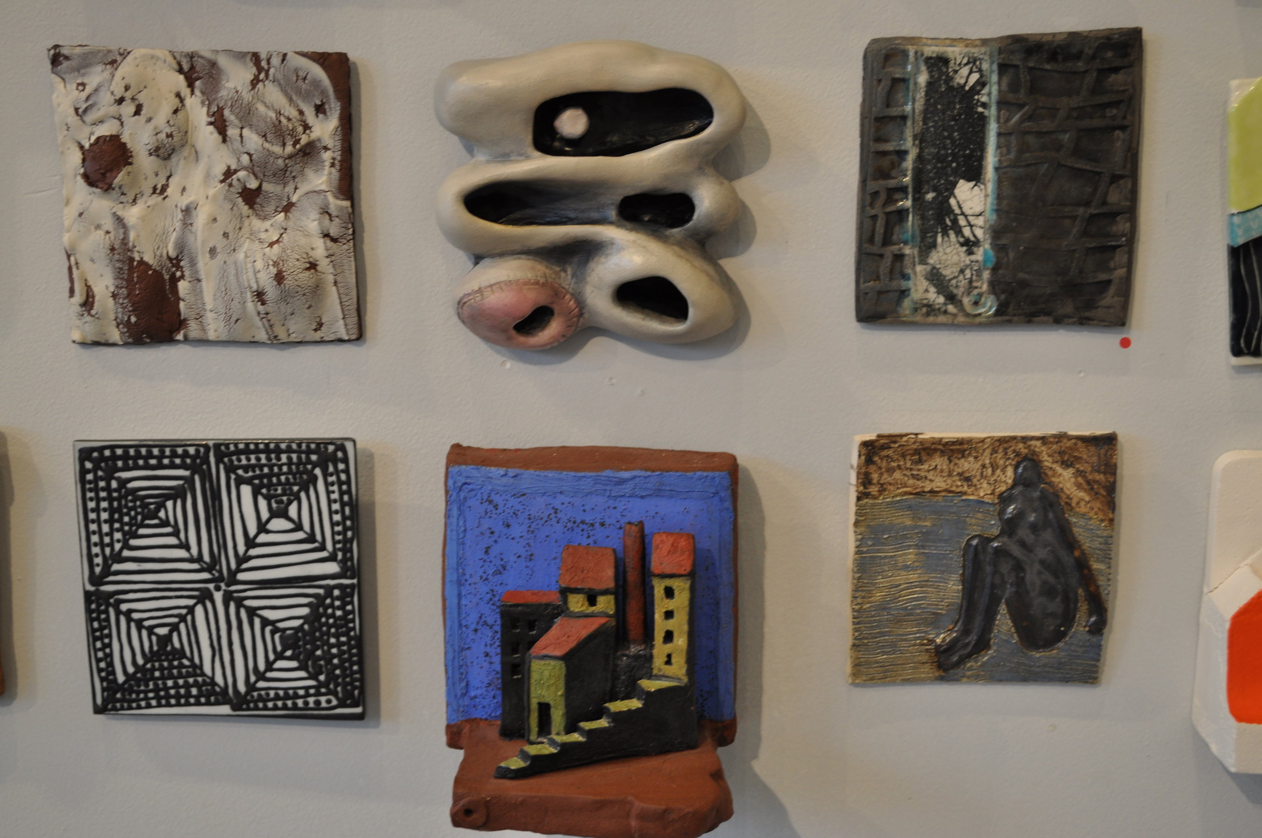 1.  Julie Buyon,  Untitled  $30  2.  Michelle Sorrentino,  Mitochondria  $350  3.  Helayne Friedland,  Branches tile 1  (SOLD)  4.  Reena Kashyap,  4 Squares with dots $50  5 .  Rene Murray,  Floating Castle $500  6.  Jo-Ann Brody,  Seated Women 2 $90