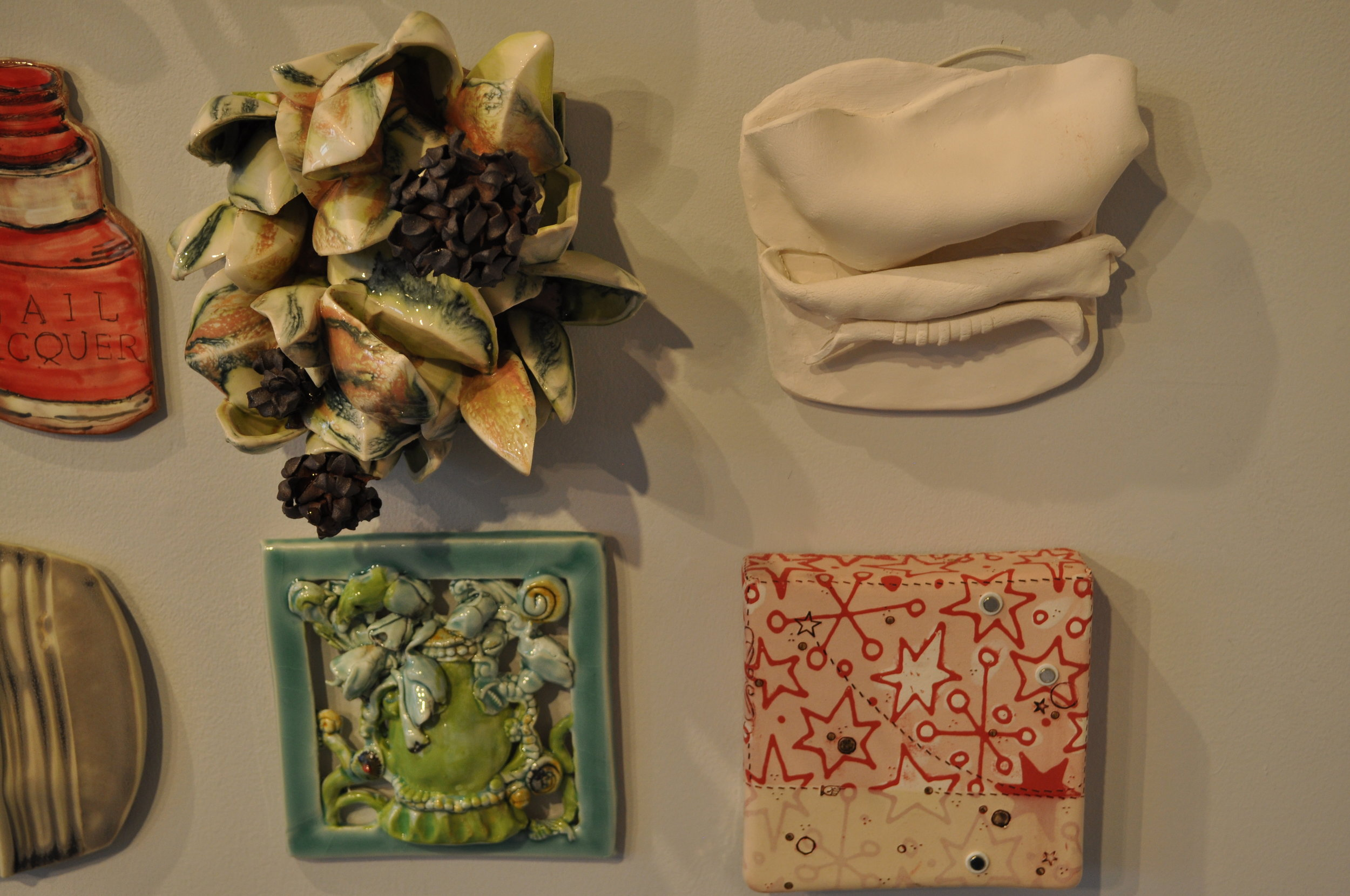 1.  Susan Beiner,  Leaf Tile #3  $175  2.  Luanne Morse,  Old Pond  $50  3.  Susan Wortman,  Untitled $425  4.    Jason Burnett,  Star Light/ Star Bright  $125