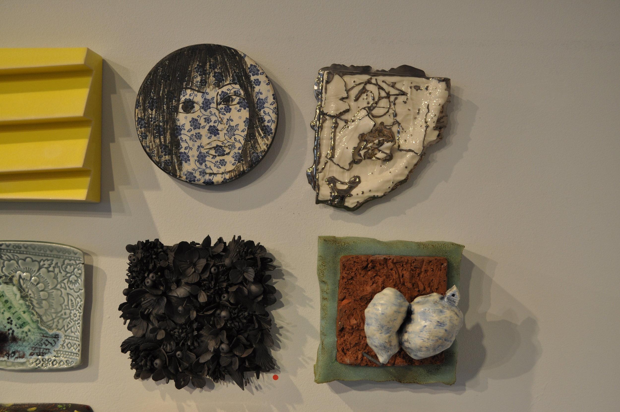 1.  Eva Kwong,  Wall Flower 1  $200  2.  Heather Mae Erickson,  Tile: From perfect imperfection collection: Bird series  $150  3. Rain Harris,  Jardin Noir 2  (SOLD)  4.  Rick Parsons,  Shotgun House  $200