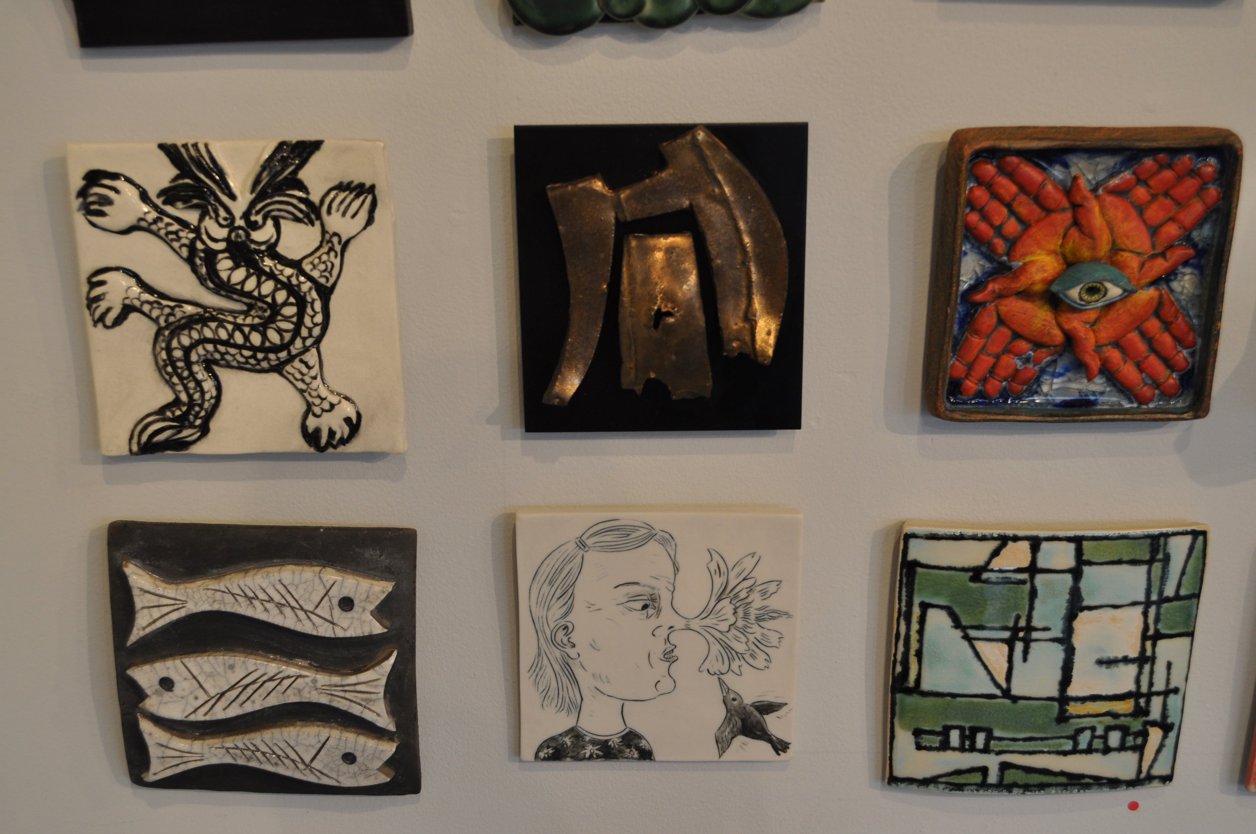1.  Sally Aldrich,  Beauty In the Beast  $50  2. Jeff Shapiro,  Untitled  $250  3.  Mary Cloonan,  Whirlwind  $175  4. Rimmie Mosley,  Trio #1  $75  5.     Cynthia Consentino,  Flower Nose  $150  6.  Roni Cohen,  Homage To Mondrian 3  (SOLD)