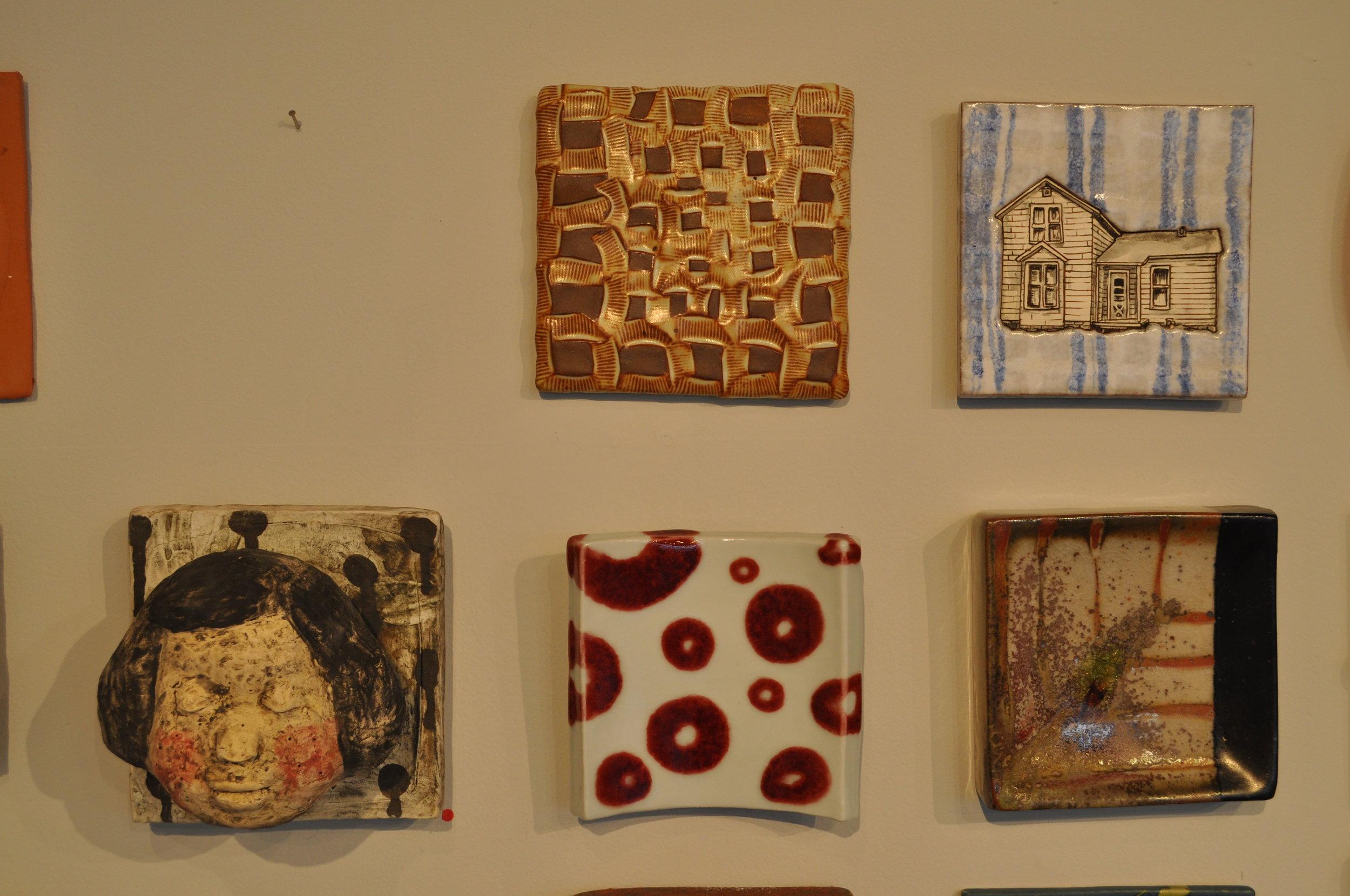 "1.  Peter Arnow,  Untitled  $50  2. Jessica Brandl,  Blue House  $100  3. Kensuke Yamada,  Wall Tile 1  (SOLD)  4.  Sarah Koster,  Untitled   5.  Matthew Hyleck,  Tile 6"" x 6"" - Chevron  (SOLD)"