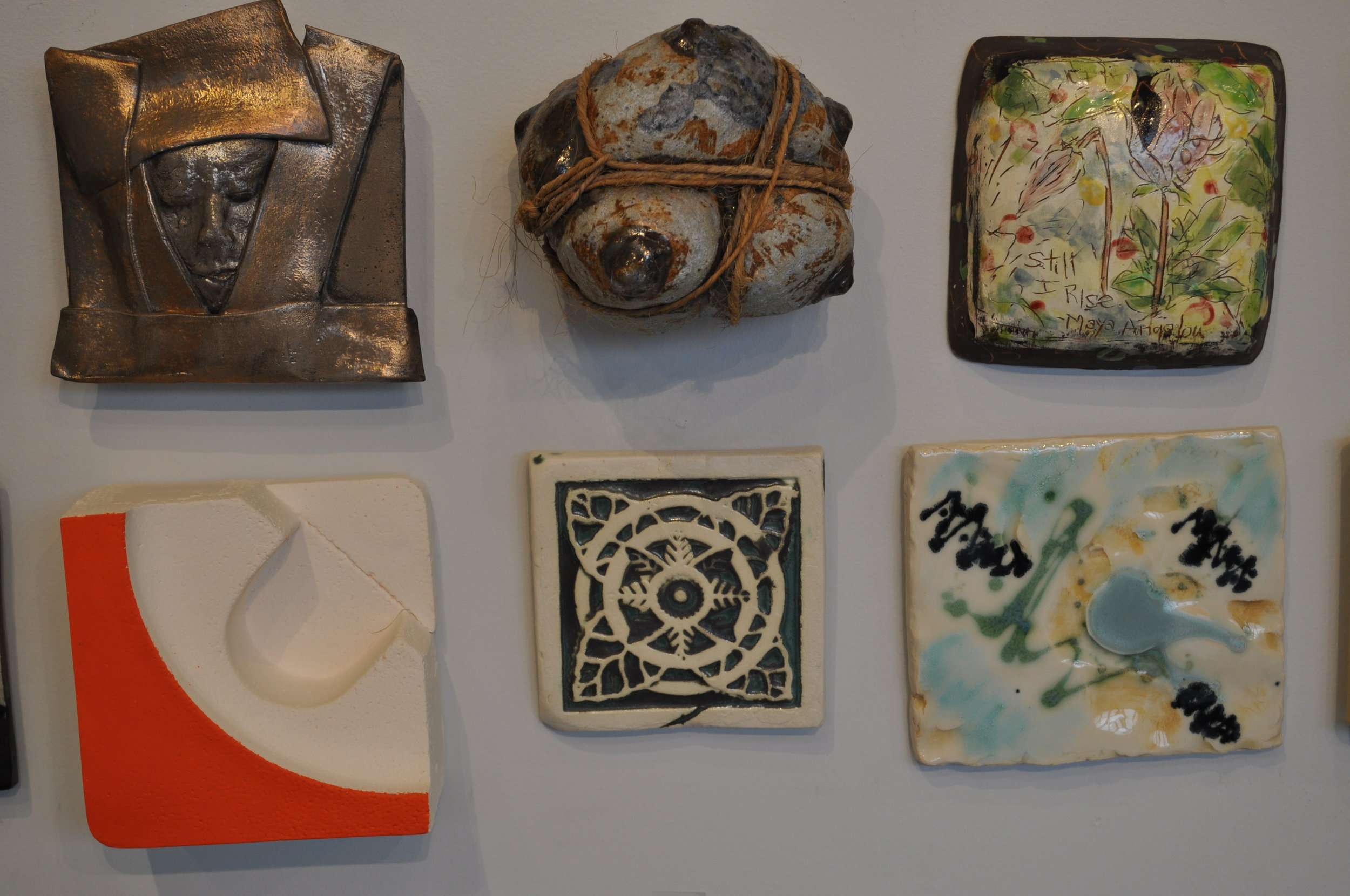 1 . Lily Schor,  Untitled  $200  2.  Mark Chatterley,  Bound  $125  3.  Diane Kenney,  Still I Rise  $125  4. Elenor Wilson,  Construction Foam #4  $150   5.  Sana Musasama,  Tile 2 $80  6.  Roni Cohen,  Lost In The Palette  $38
