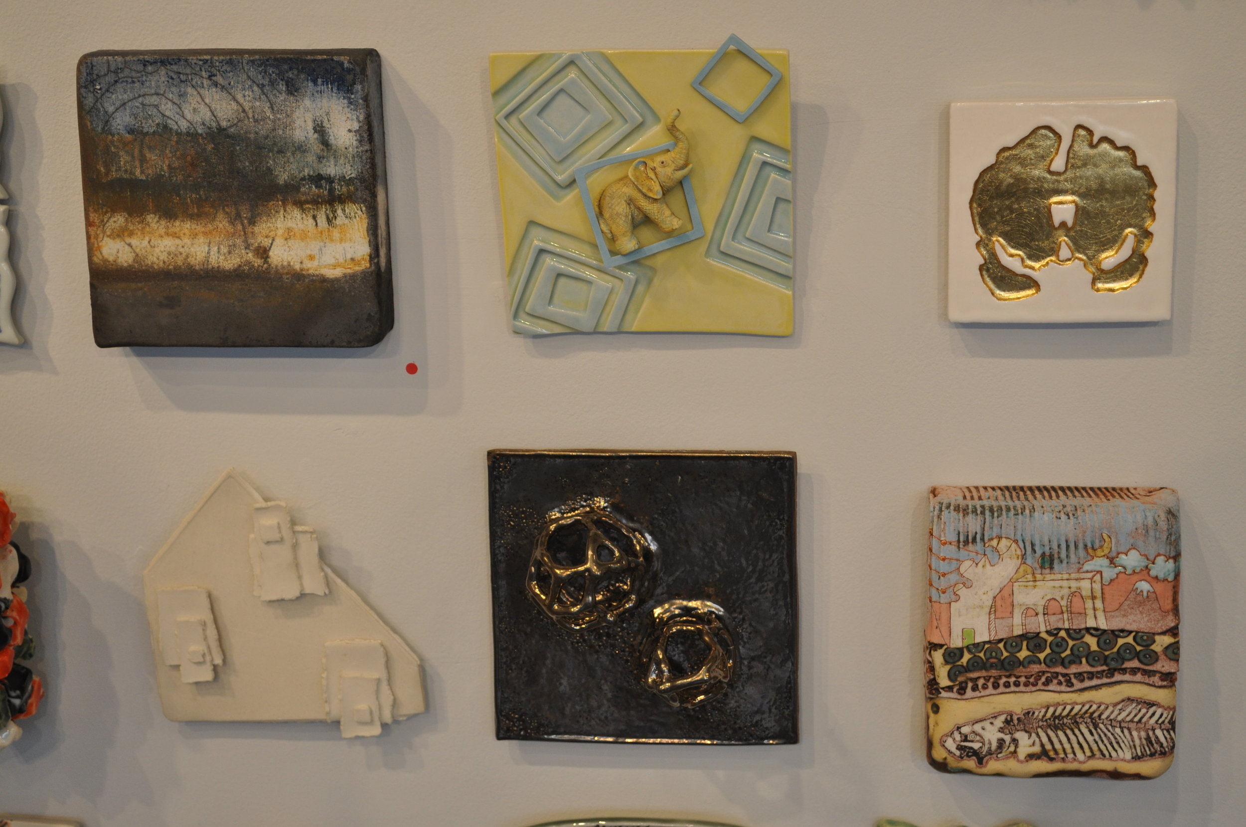 1.  Lily Schor,  Landscape  (SOLD) 2.  Sally Ng,  Blue Squares  $65   3 . Bri Murphy,  Coronal Slice Geode Tile (White-Edition 1 of 3) $200  4. Deborah Mawhinney,  Under One Roof  $90  5.  Jackie Welsh,  Untitled 3  (SOLD) 6.  Shanna Fliegel,  A Subterranean Perspective $250