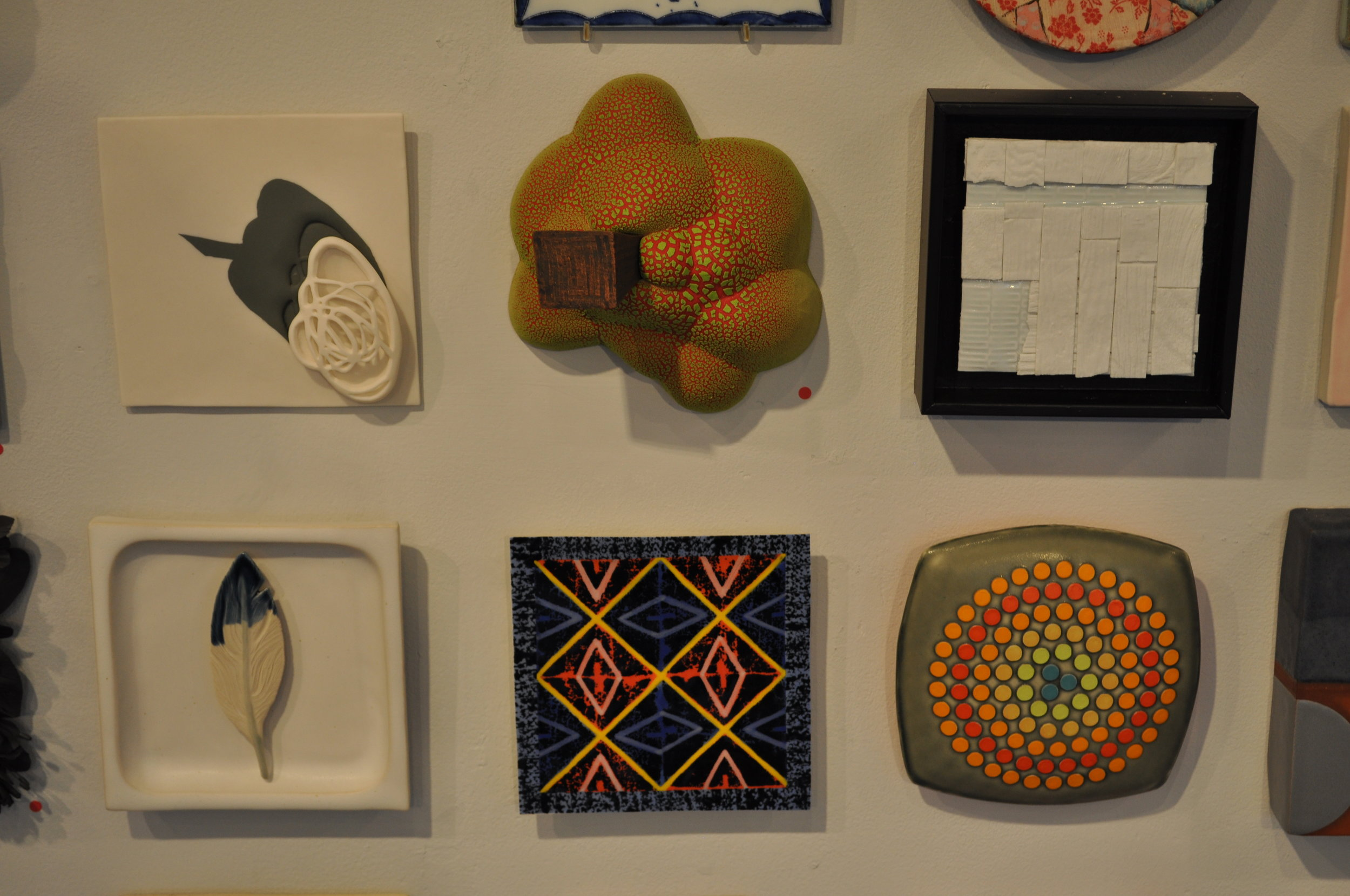 1.  Shalya Marsh,  Iteration Study 1  $250  2.  Jonathan McMillan,  Untitled  (SOLD)  3 . Bryan Hopkins,  Tile 3  (SOLD)  4. Kelly O'Sullivan,  Feather Tile #1  $90  5.  Don Reynolds,  Four Square  $50  6.  Chris Pickett,  Amber Waves $150