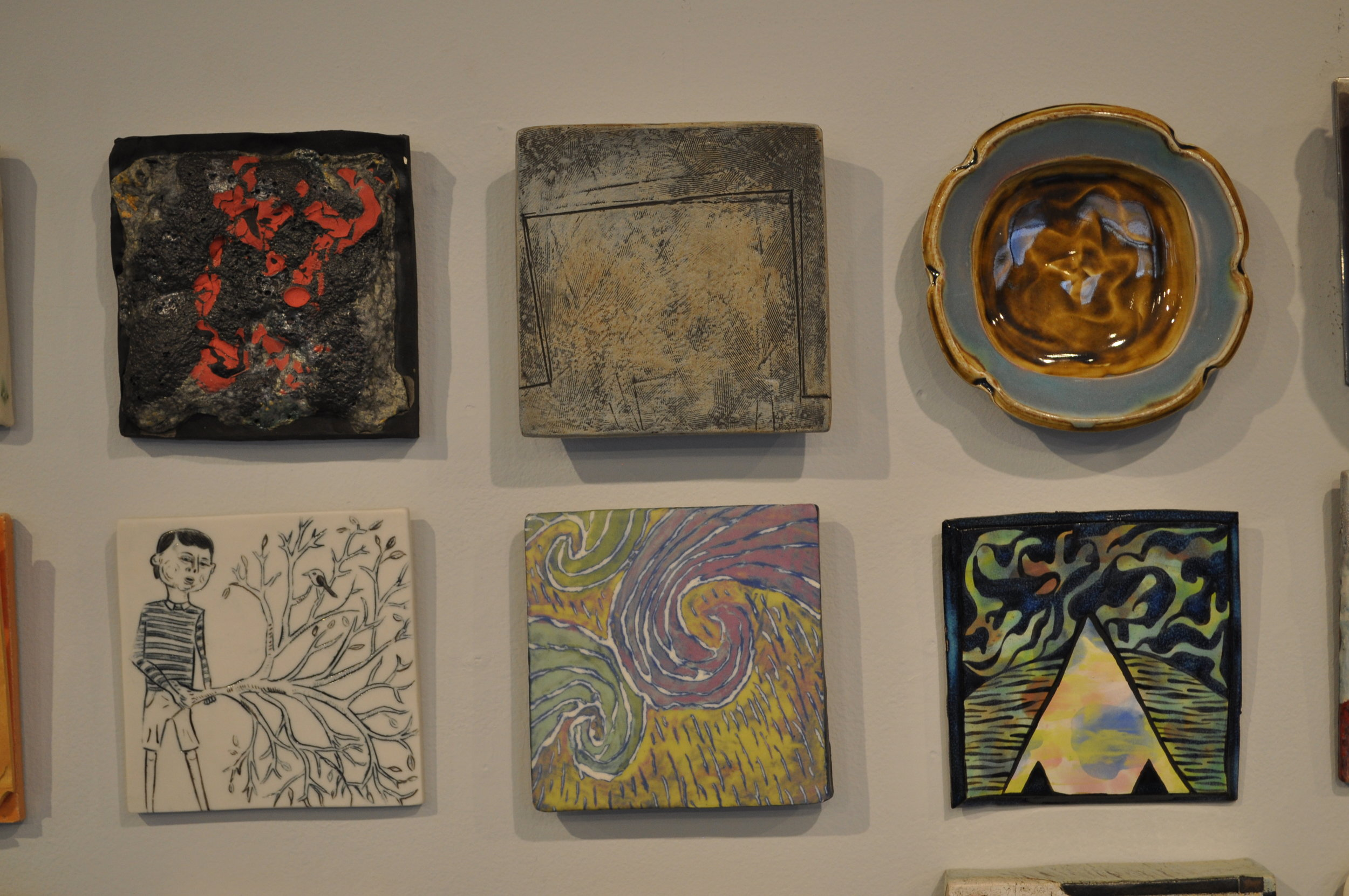 1.  John Britt,  Debris  $100  2.  Mary Barringer,  Tile/plate  $100  3.  Gertrude Graham Smith,  Squared Plate/Tile  $42  4. Cynthia Consentino,  Would He?  $150  5.  Lana Wilson,  A Bed Of Chartreuse  $90  6.  Kelley Donahue,  Birth of a Merkaba  $100