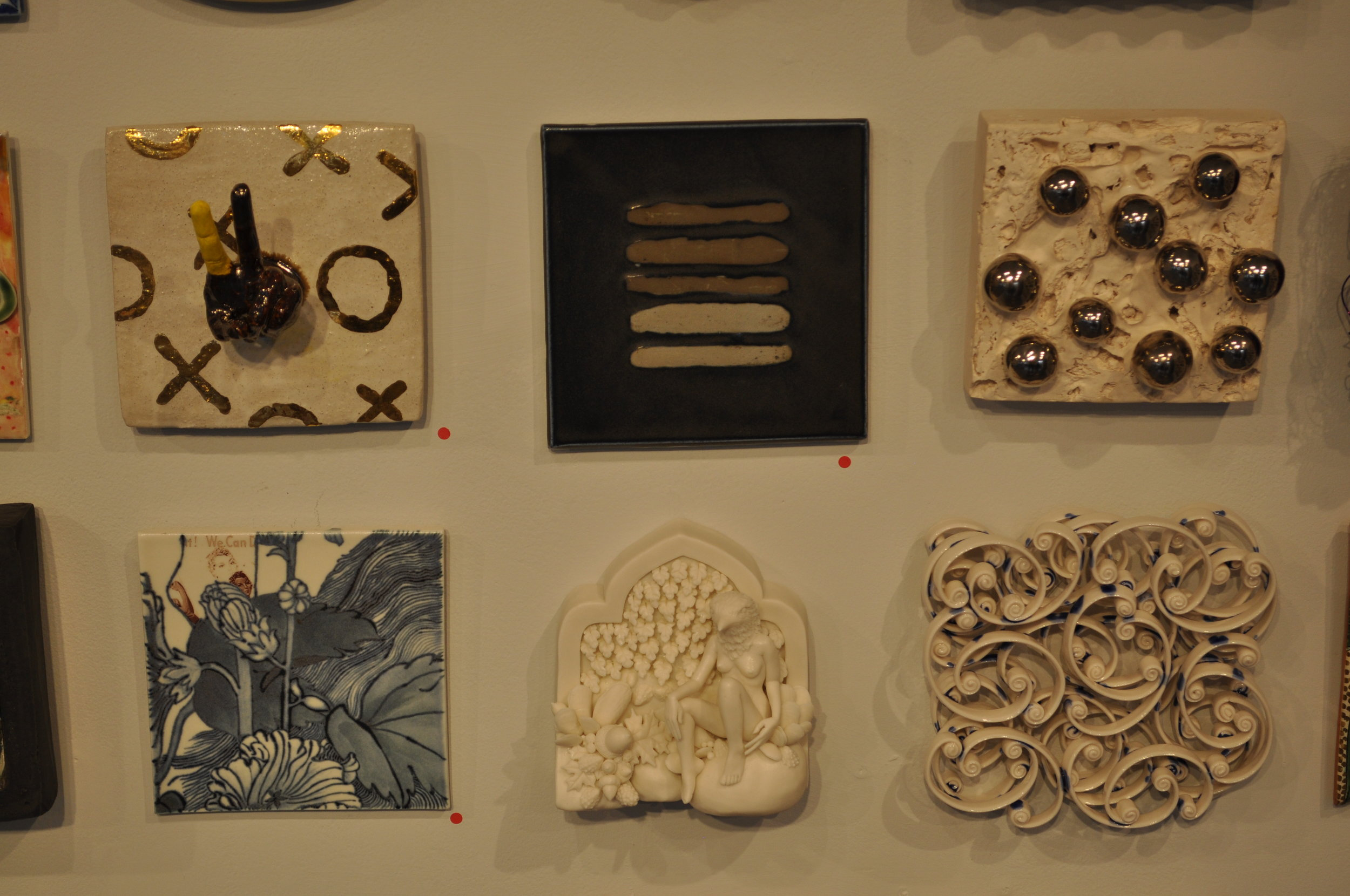 1.  Kensuke Yamada,  Wall Tile 2  (SOLD) 2.  Dalia Berman,  Untitled  (SOLD) 3.  Kitty Ross,  Bubble  $350  4. Sin-Ying Ho,  We Can Do It  (SOLD)  5. Crystal Morey,  Entagled Wonder: Peregrine Falcon with New Growth  (SOLD)  6.  Michelle Tobia,  Untitled  $150