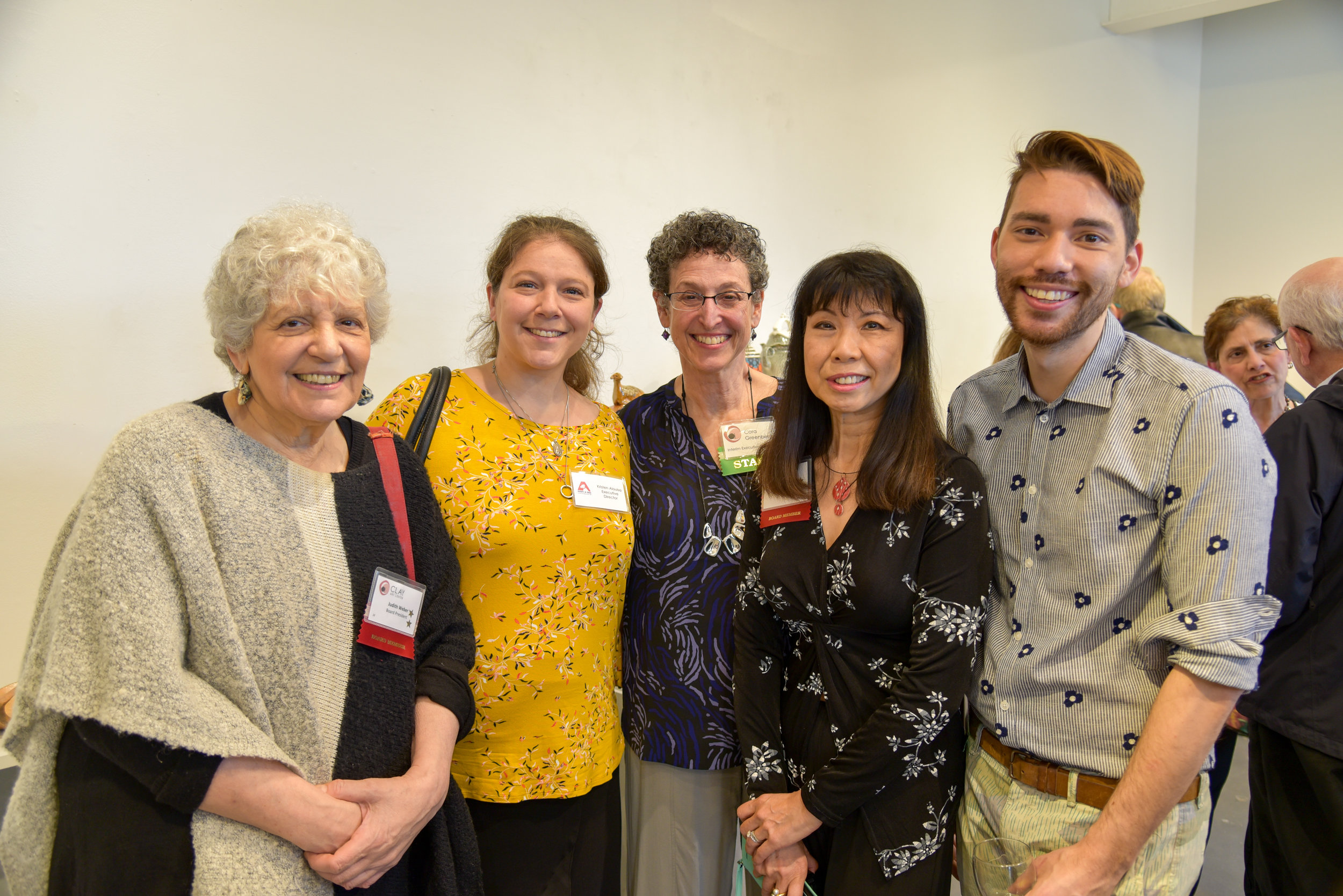 Judith Weber, CAC Board President, Kristen Alouisa, Adopt-a- Dog Executive Director, Cora Greenberg, Sally Ng, CAC Board Member, Adam Chau, Exhibitions Manager
