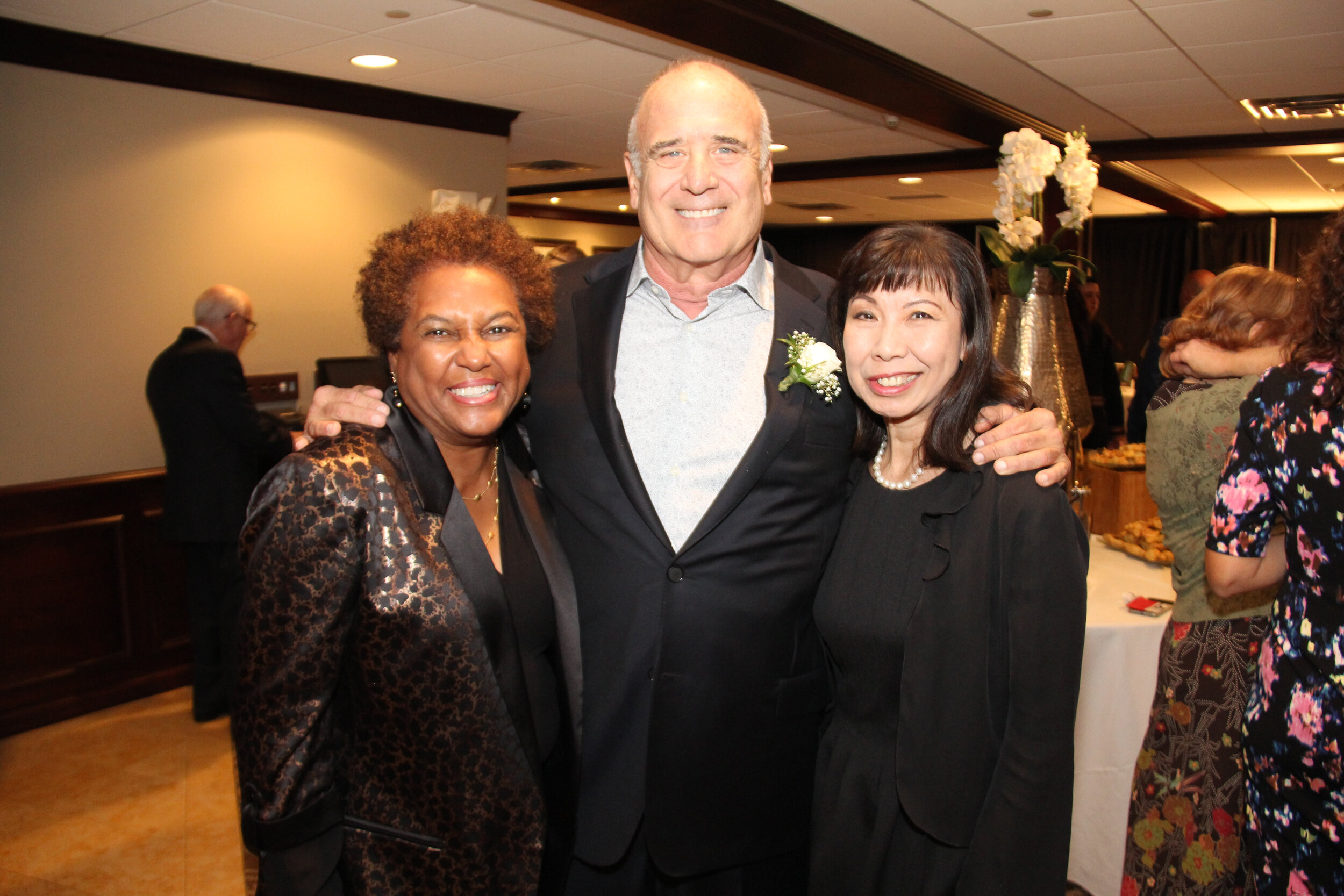 Clay Art Center Annual Benefit 2019, Earlene Cox Board Member, James Turnbull  Honoree, Sally Ng Board Vice-President.jpg