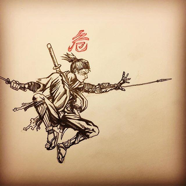 Late night doodle! #drawing #art #comics #illustration #gaming #sketch #ink #sekiro #japanese #japan #kanji @fromsoftware