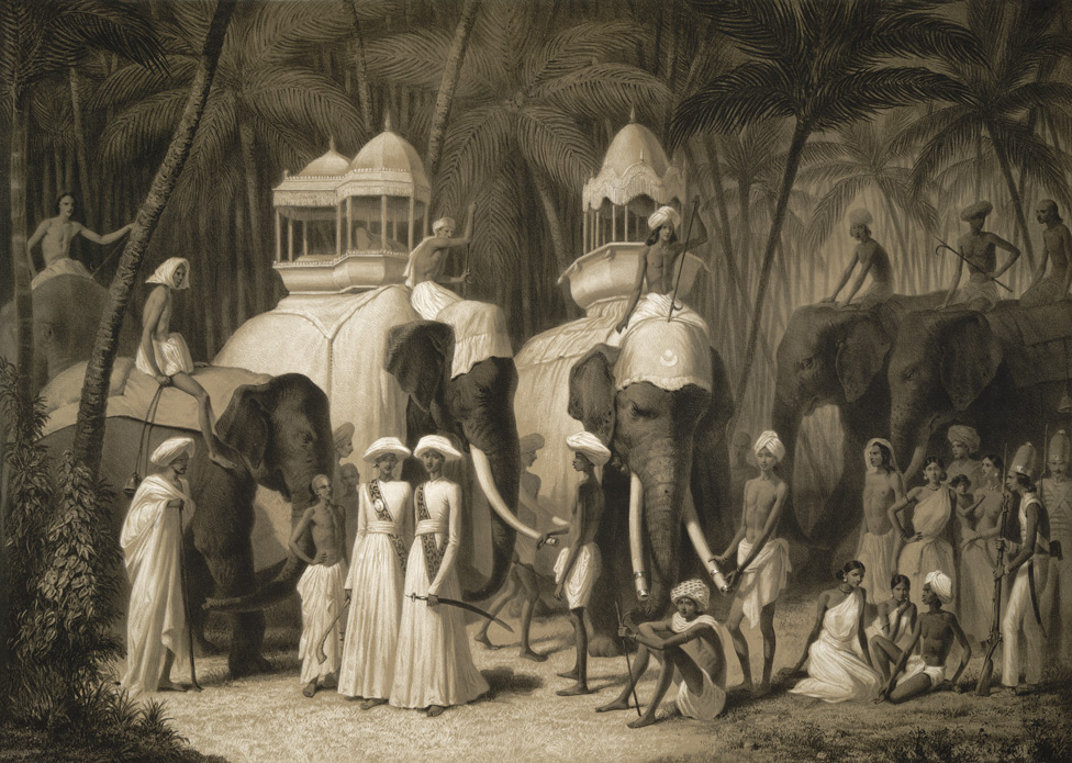 Éléphants du Radja de Travancor, Trivandrum. Mai 1841.  Original sketch: Aleksandr Saltuikov; Lithograph: L.H. Rudder, 1848. (Image Courtesy: British Library)