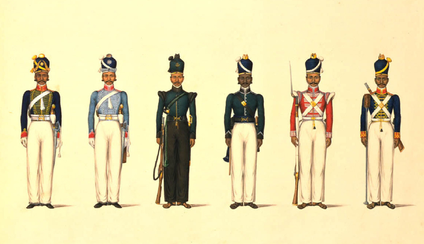 Painting; gouache and watercolour, Six figures depicting military uniforms, Tanjore, ca. 1830. Figure on the far right is in the uniform of foot artillery of the Madras British East India Company army. (Image courtesy: Victoria and Albert Museum)