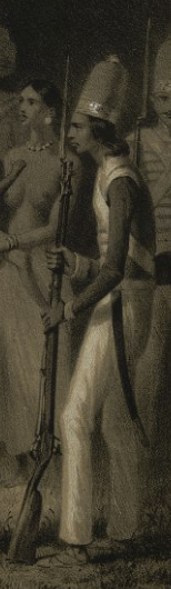 Detail showing liveried soldier in side profile and behind him, another soldier placed frontally.
