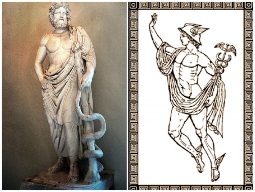 Left: Greek God of Medicine, Asclepius, with his Rod; Right: Mercury with his staff, the Caduceus.