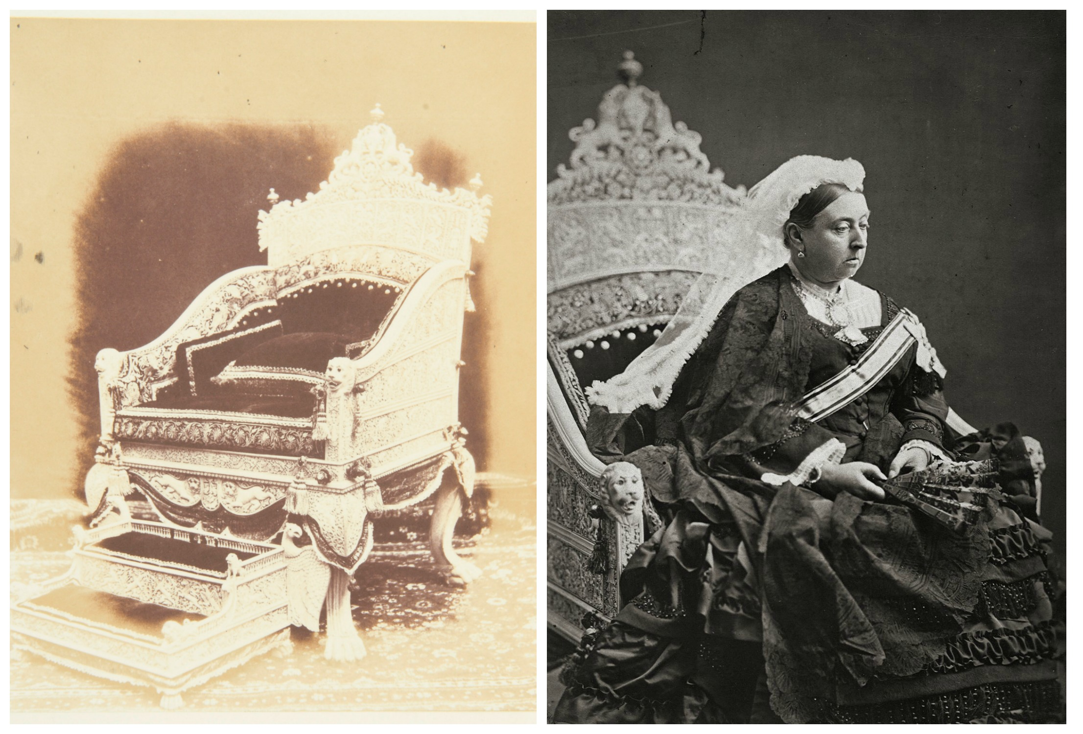 Left: Ivory Throne and Footstool, 1851; RIght: Official Portrait of Queen Victoria as 'Empress of India' on Ivory Throne, 1876 (Images:  Royal Collection Trust/© Her Majesty Queen Elizabeth II 2016 )