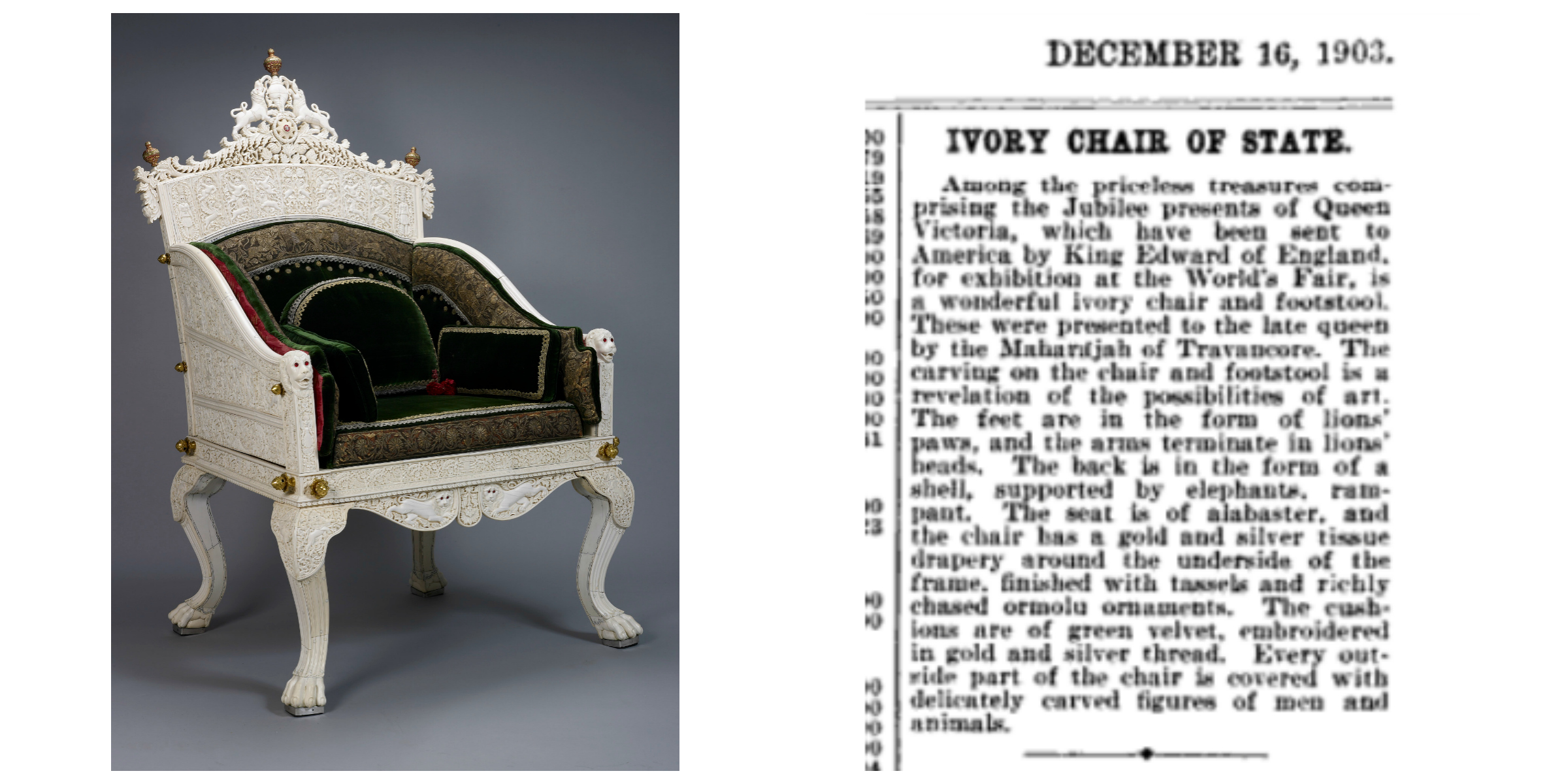 Right: Cut-out from  The Insurance Press  vol.17, December 16, 1903, page 12, Publisher: F. Webster (From New York Public Library, Digitized by  Google ); Left: Ivory Throne, Windsor Castle, UK, copyright: Royal Collection Trust