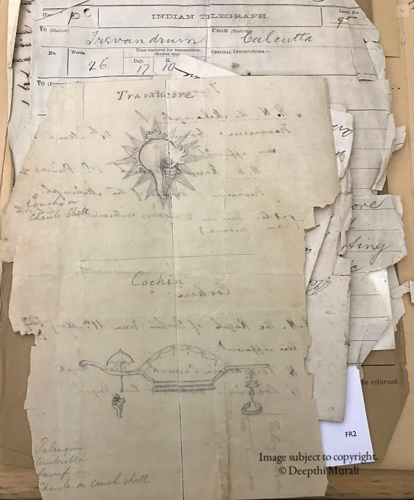 The first set of sketches sent by British Resident Mac Gregor. Top: sketch for Travancore banner. Below: Sketch for Cochin banner. Image File source details provided at the end of the post.