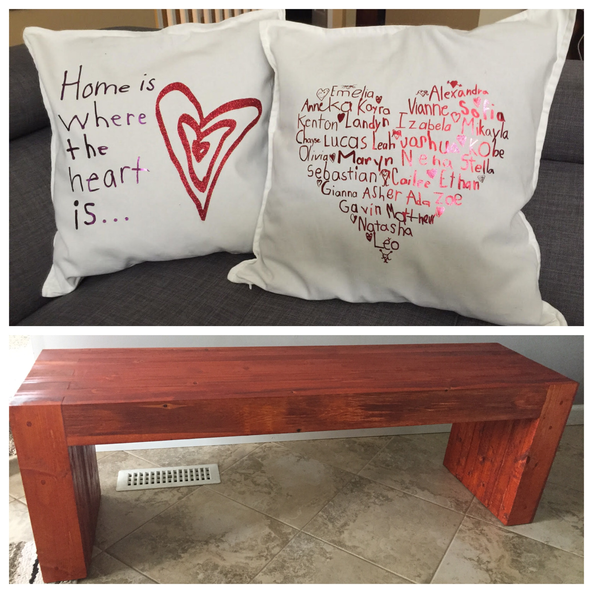 In addition to these beautiful pillows, the Grade 1 class craft includes a beautiful handmade bench. Thanks to Deanna Maceda Silva, Mary Gene Mariano and Morena Vilio for coordinating the pillow design and Clarissa and Glenn Gallagher for creating the bench.  Opening Bid: $50 Bid Increments: $10 Class Code:  Name, G1-(place bid)