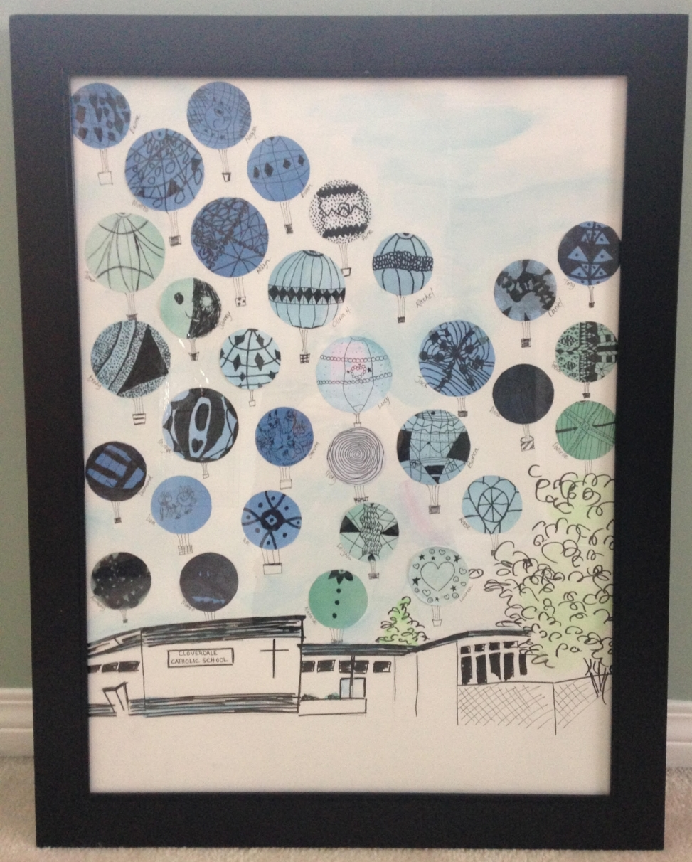This one of a kind artwork was created by the Grade 4 class under the supervision of Alicia Hadson.  Opening Bid: $50 Bid Increments: $10 Class Code:  Name, G4-(place bid)