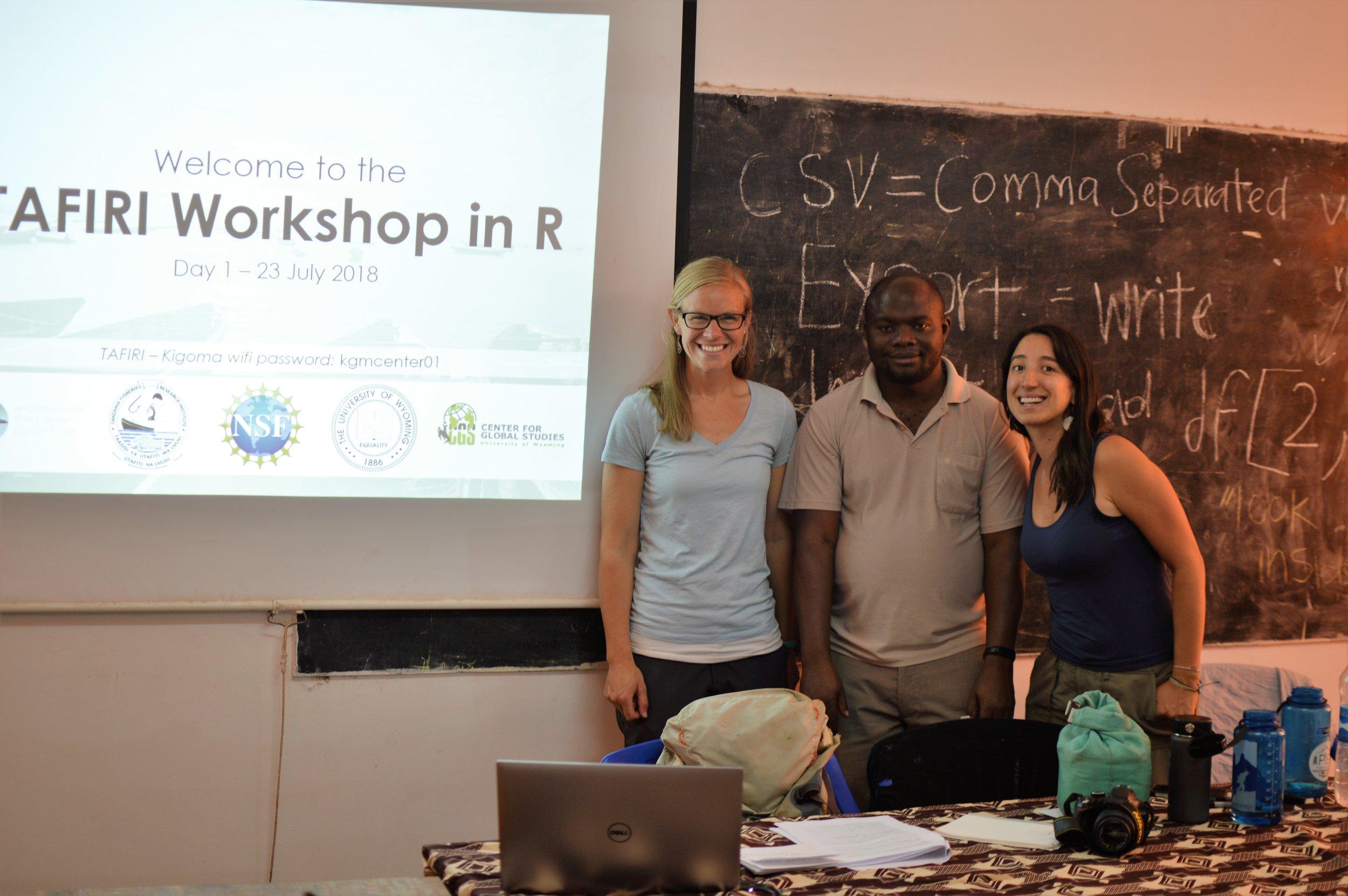 Instructors of the TAFIRI Workshop in R, July 2018 —  (L to R) Jessica Rick (Univ of Wyoming), Masumbuko Semba (Univ of Dar es Salaam), Jimena Golcher-Benavides (Univ of Wyoming)