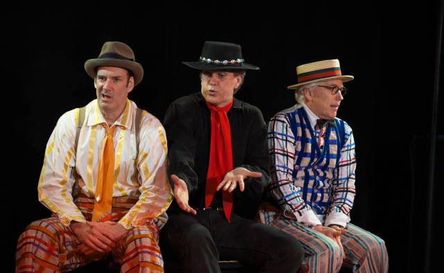 Dan Sharkey as Hucklebee, George Dvorsky as El Gallo, and Joseph Dellger as Bellomy in  The Fantasticks .