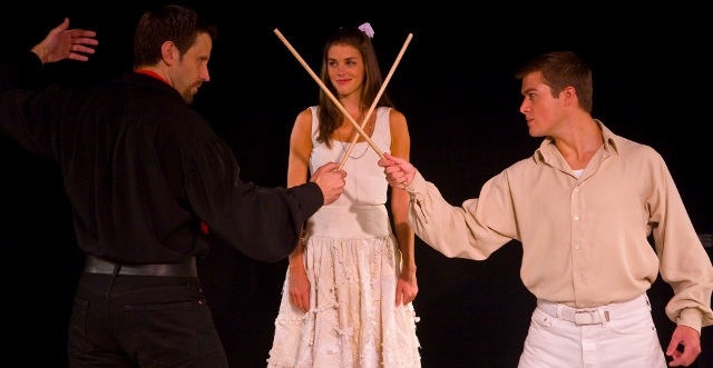 Lewis Cleale as El Gallo, Margaret Anne Florence as Luisa, and Nick Spangler as Matt in  The Fantasticks .