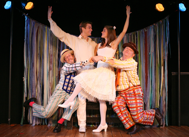 Steve Routman as Bellomy, Nick Spangler as Matt, Margaret Anne Florence as Luisa, and Gene Jones as Hucklebee in   The Fantasticks .