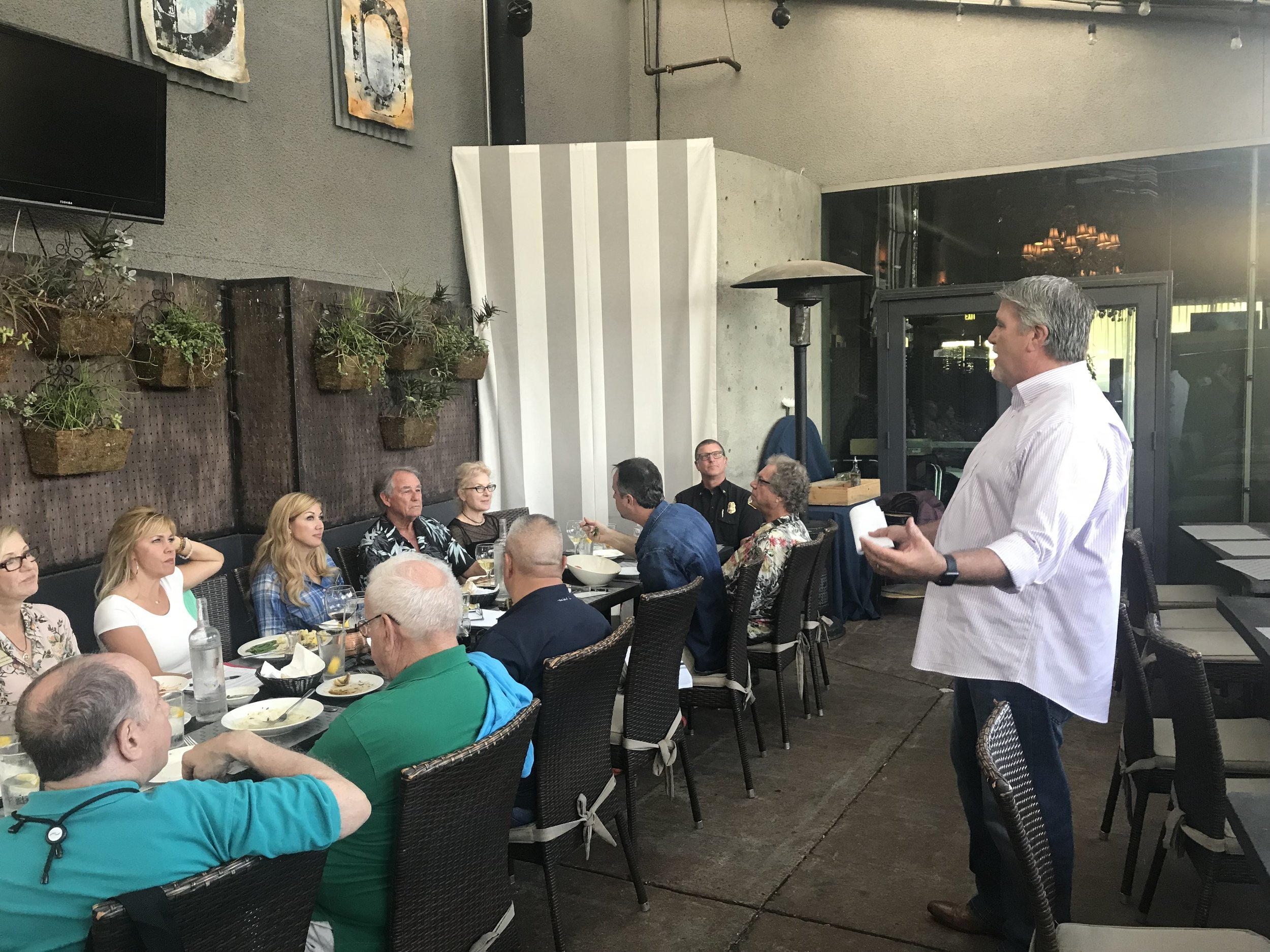 Former Manhattan Beach Fire Chief, Bob Espinoza, addresses the Kiwanis Club of Manhattan Beach