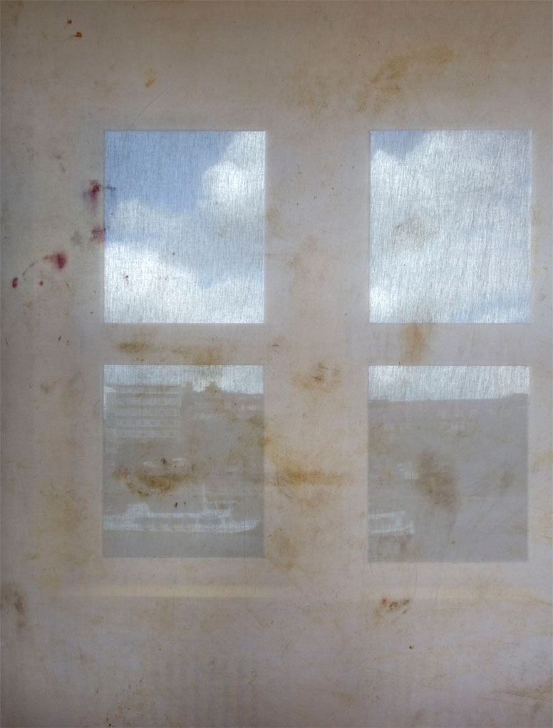 Crawl out your window      Stained cotton, yellow paint, wire