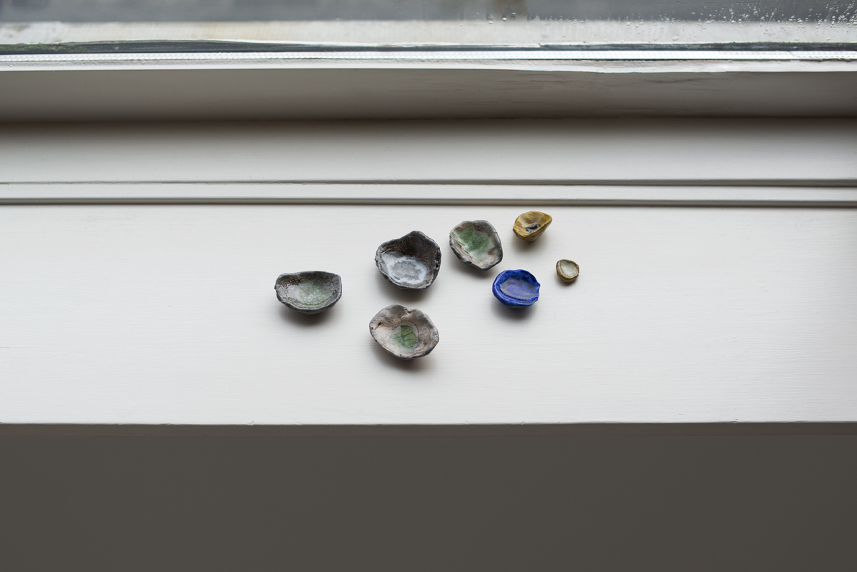 I love you poems , 2019, assorted clay, found glass (soda and salt fired) Dimensions variable