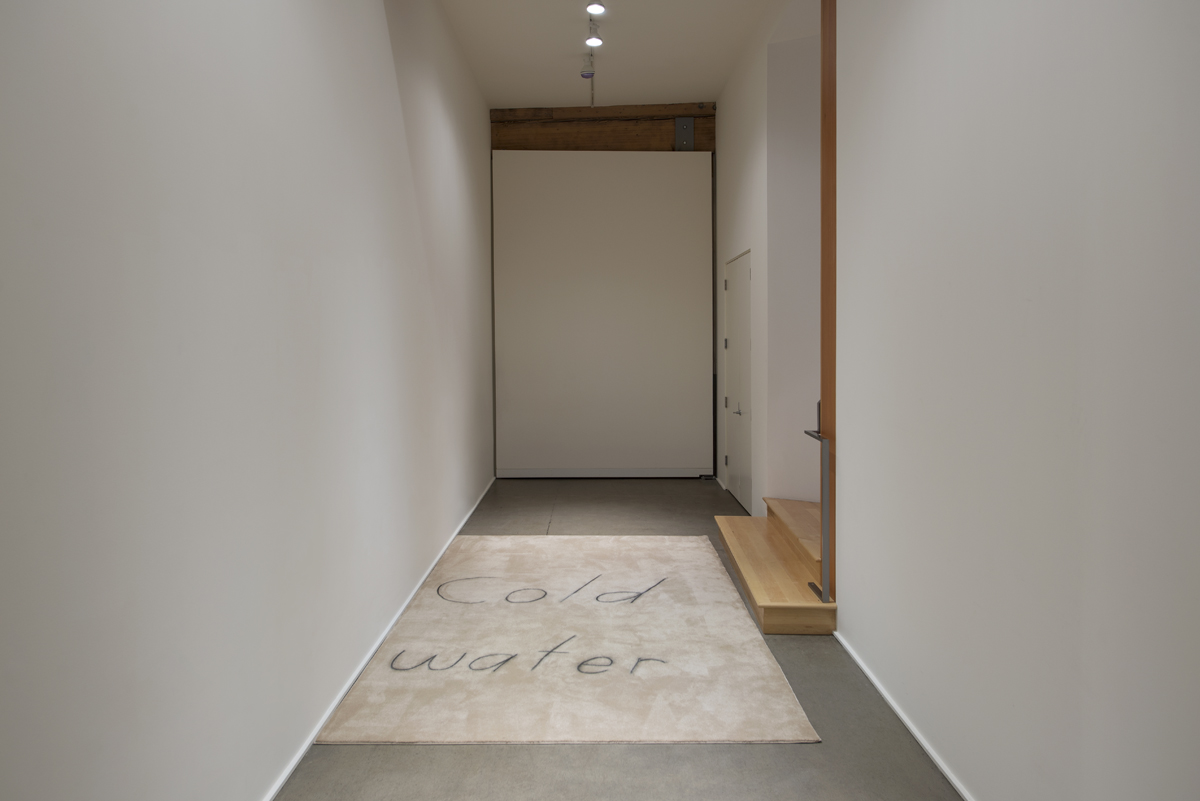 Cold water , 2019, Carpet, chalk 136 x 83 inches