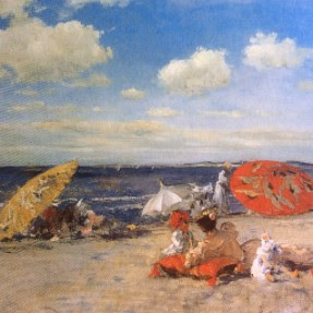 """William Merritt Chase At the Seaside, c. 1892 Chase """"...received almost universal praise for his fresh approach to light and atmospheric effects..."""""""