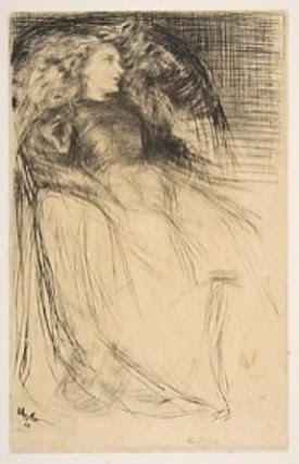 James McNeill Whistler Weary, 1893 Whistler was heavily influenced by Rembrandt, as demonstrated by the highlighted face of the model. His choice of using tan Japan paper is important since so much of the unfinished paper surface is exposed.