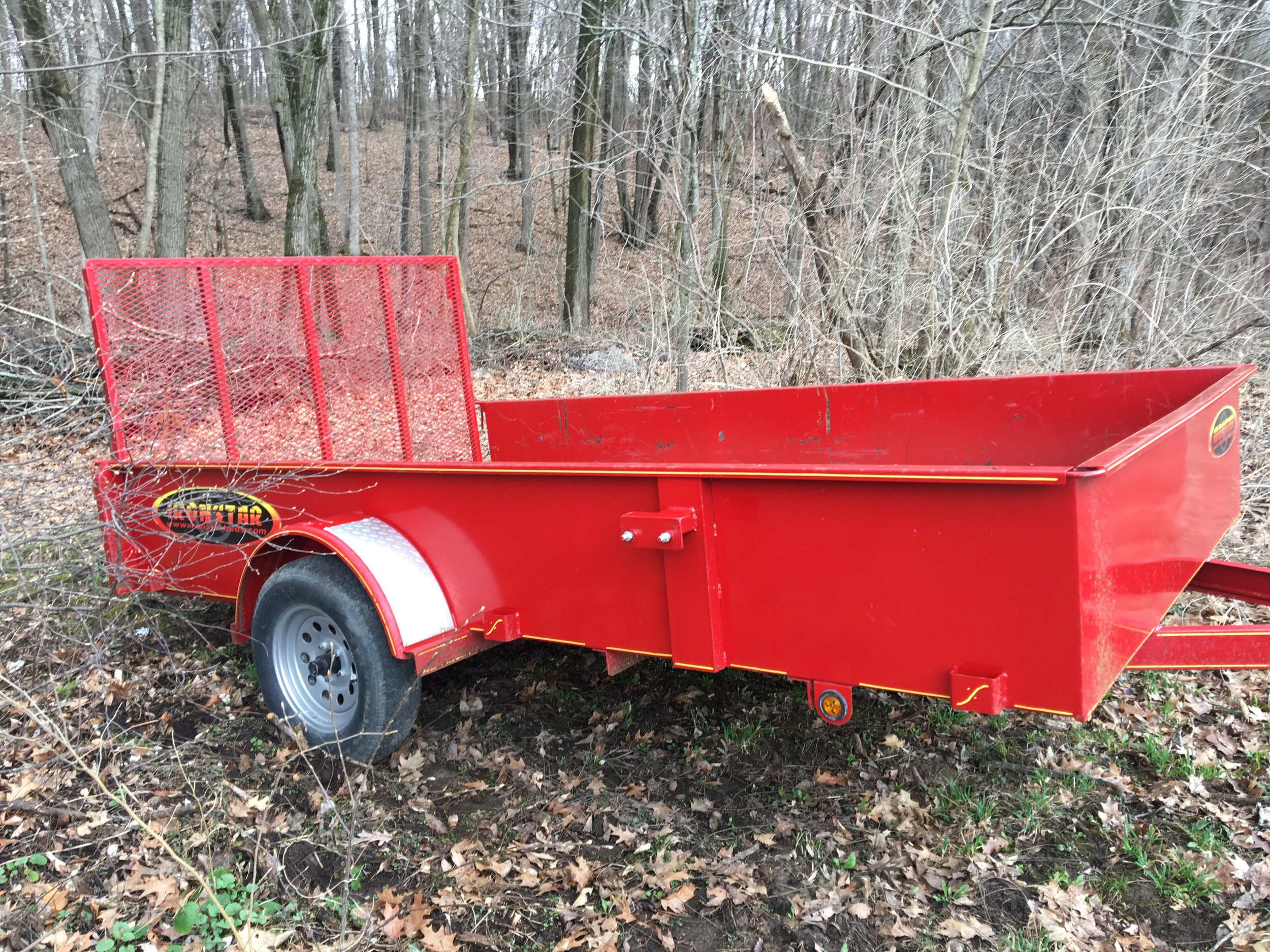 A trailer purchased by FoCL to haul firewood to campsites