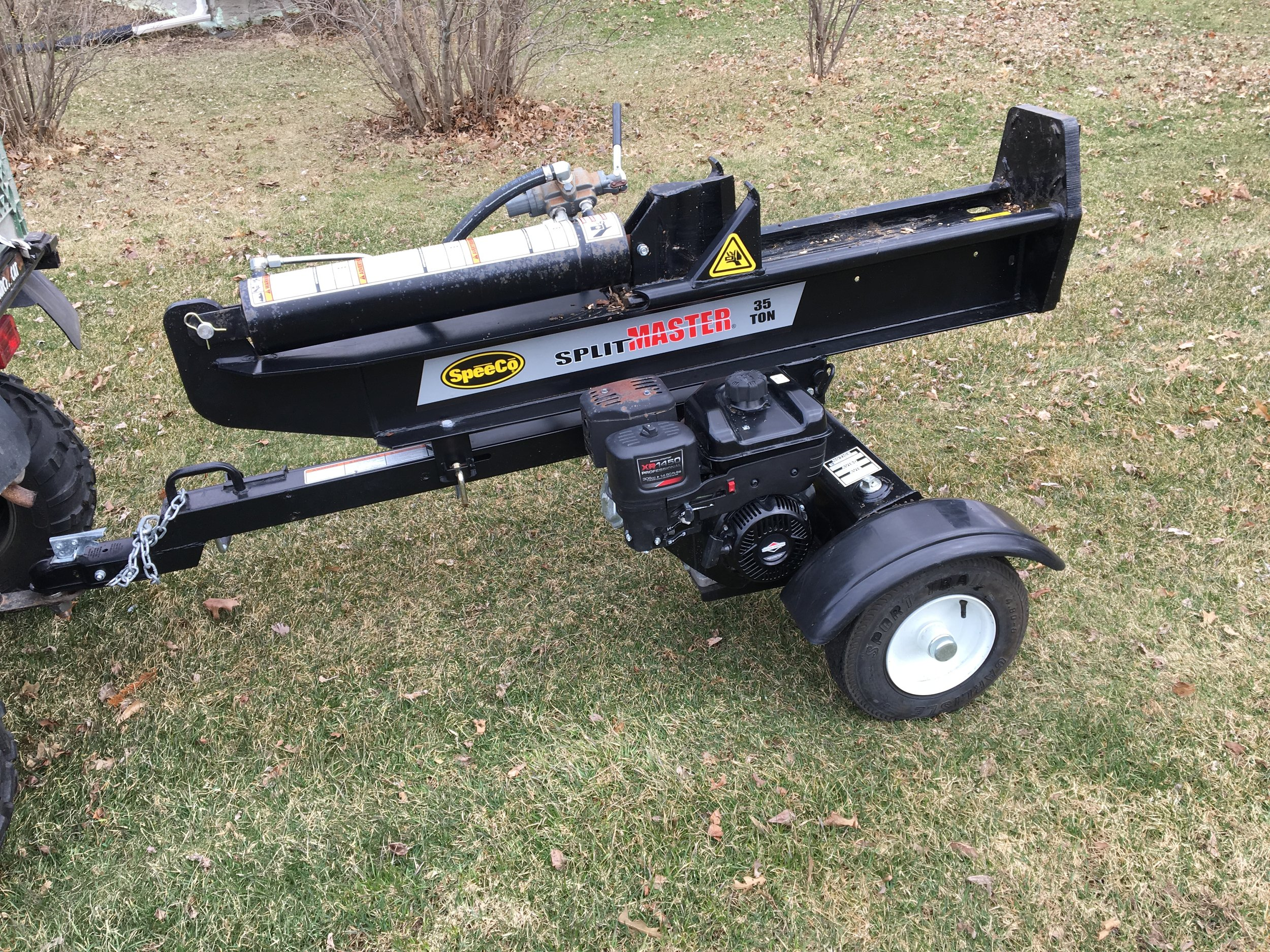A recently purchased hydraulic log splitter funded by FoCL