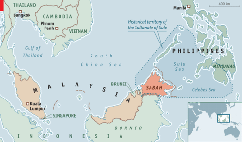 Sabah, the northeastern quadrant of Borneo (whose south is Indonesian and whose north is Malaysian) once belonged to the Sultan of Sulu, at the time the most powerful ruler in the Philippines