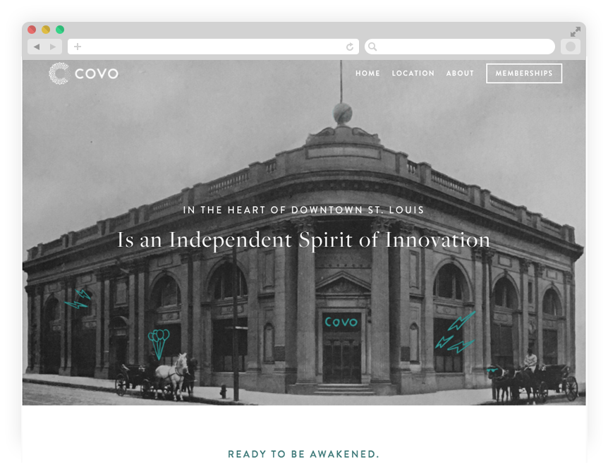 Promotional site: historic photos of the new location.