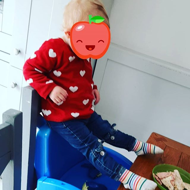 Soo i am looking for a bit of advice i suppose 🙈 While she is most definitely the apple of our eye, she is also a little 20mth old anti authority (her parents)/anti establishment (her parents)/adrenalin junkie (my husband gave her that title)! She refuses to be strapped into ANYTHING & she is now wriggling free ofthe car seat straps no matter how tight we can get them 😣. Did you have a little person like this? Any tips? This is how she ate her lunch .... i didnt have the will to argue today 🙈🤰 She is such a quiet, placid, full of fun little pocket rocket & she makes my day every day!  But ehh she also has our nerves gone 🙈😂