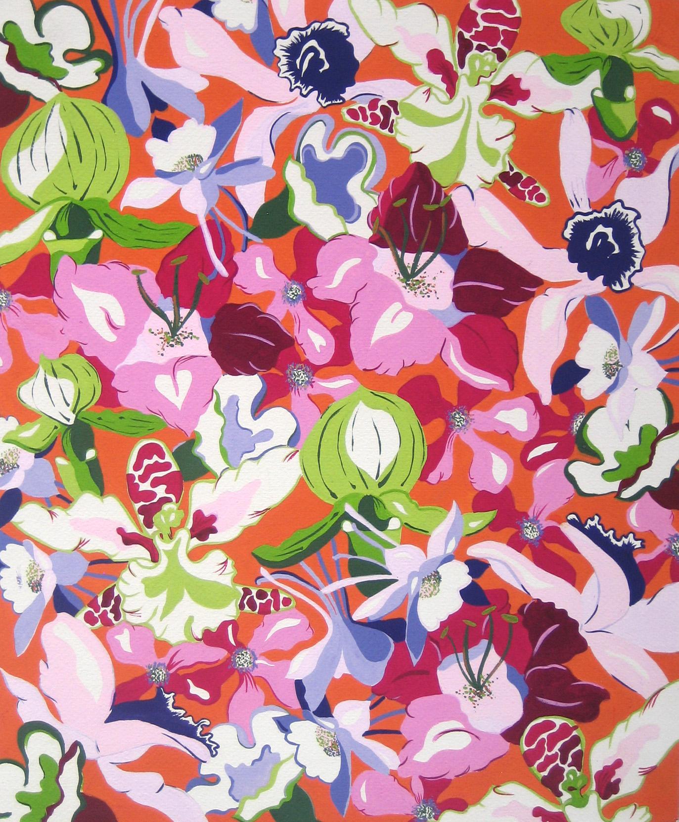 Hand-painted Textile - gouache