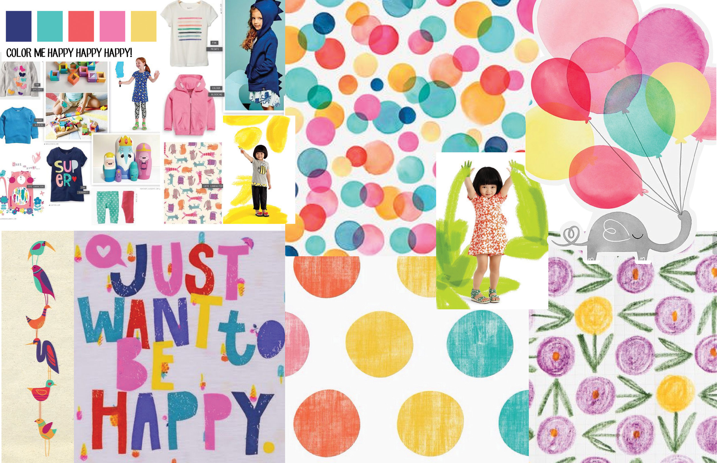 Color Me Happy Happy Happy  Graphic / Color / Print trend research for Gymboree