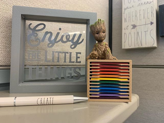 I am Groot!  Translation:  Come and create with me! - Groot  #literallymyjoy #whereisyourmini #atmyworkdesk #haveoneforthecraftroomtoo #raedunn