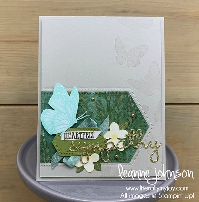 Nothing like #casingthecatalog for some inspiration. You'll want to add these new products to your wishlist for upcoming order(s) starting June 4, 2019. #literallymyjoy #stampinup #papercrafting #butterflywishes #butterfly #sympathy #20192020AnnualCatalog