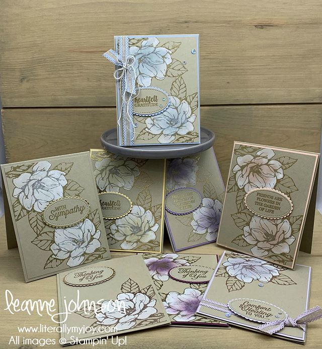 Happy 2019-2020 Annual Catalog launch day! You'll want to add the Good Morning Magnolia Bundle to your 🛒. Thanks to @lindastampin for sharing the Magnolia whitewash and embossing technique. I just couldn't get enough and needed to make more in many different colors. I could have a biased opinion on which are my favorites. Which do you like best? #literallymyjoy #stampinup #papercrafting #goodmorningmagnolia #20192020AnnualCatalog #heatembossing #whitewash #linkinprofile