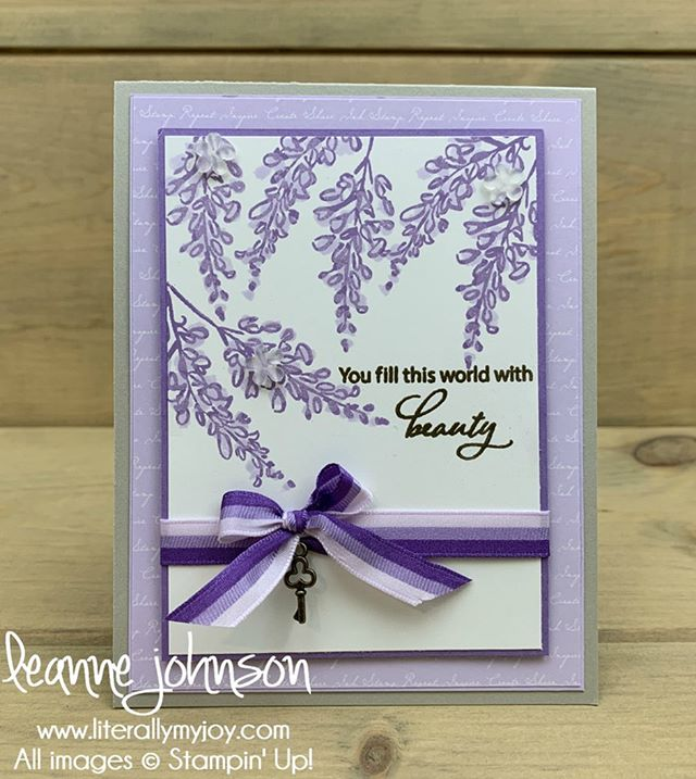 I'm loving the new In Color #PurplePosy especially for my take on wisteria flowers.  #literallymyjoy #stampinup #papercrafting #handmade #sttc #stampinthroughthecatalog #lovelyistheday #softspring #lovepurple #2019202AnnualCatalog #linkinprofile