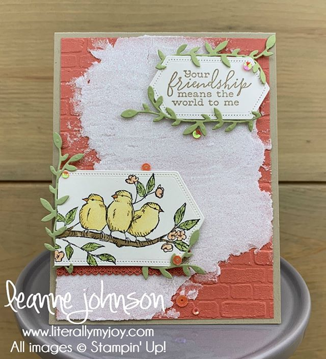 Do you like the faux Italian brick and plaster background? . . #literallymyjoy #stampinup #papercrafting #handmade #sttc #stampinthroughthecatalog #freeasabird #terracottatile #20192020AnnualCatalog #linkinprofile