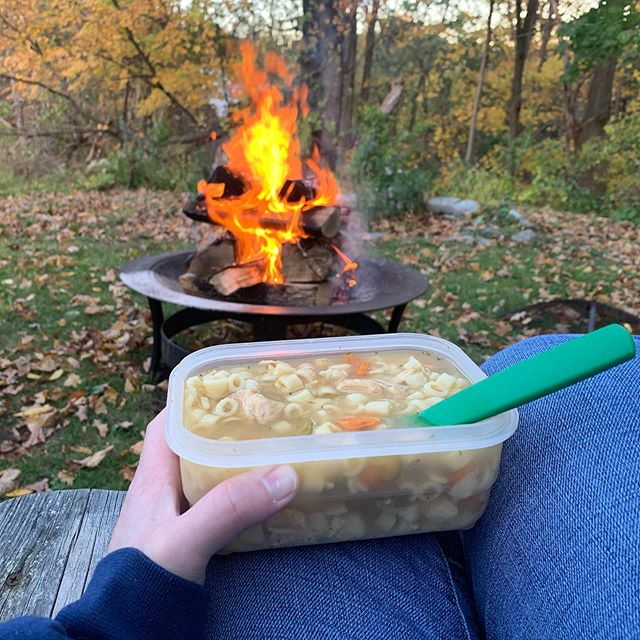 This counts as me time, right?  #fire #homemadechickensoup #listeningto #birds #chipmunks #squirrels #lovenature #outdoorlife #metime