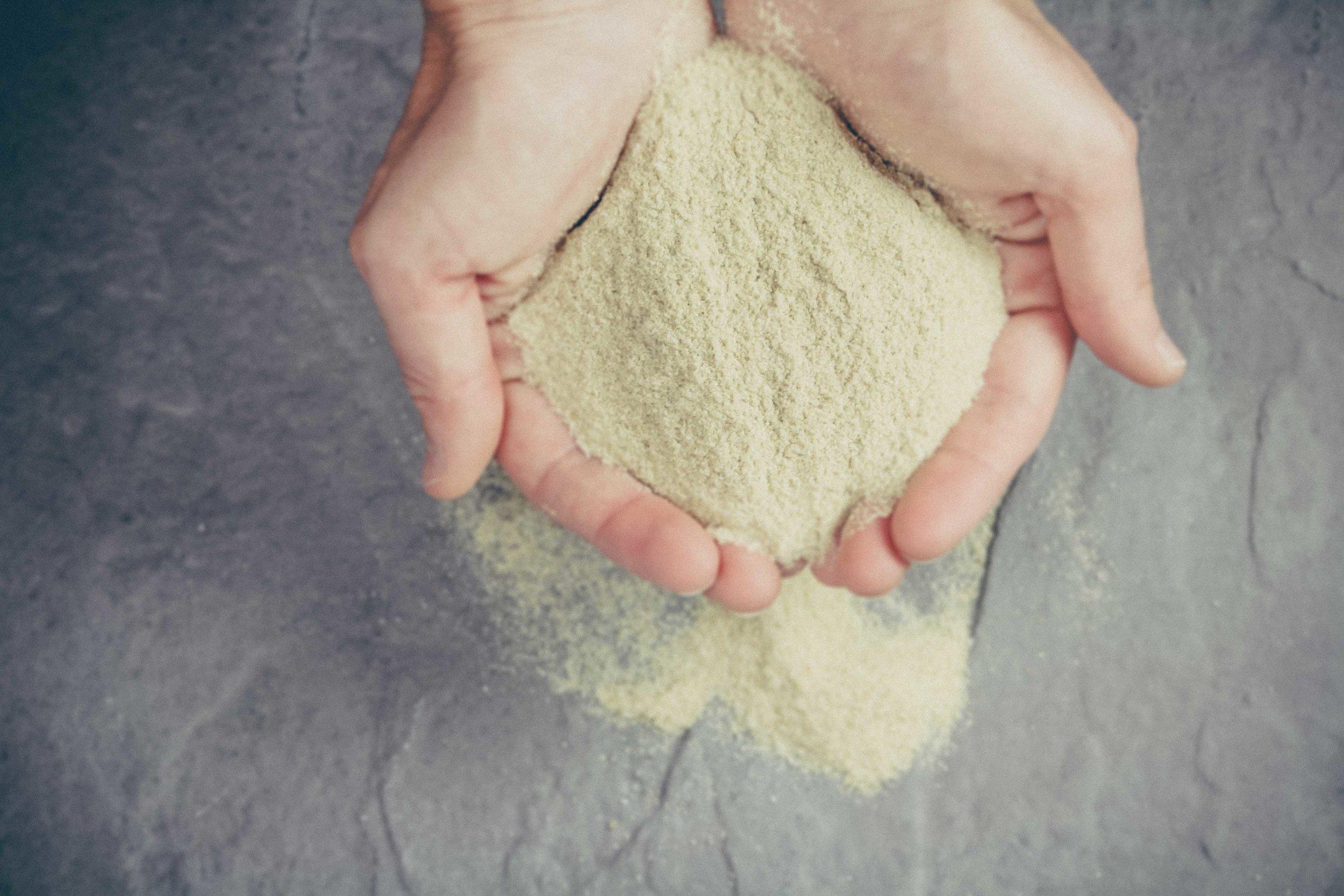 Quinoa Flour Hands