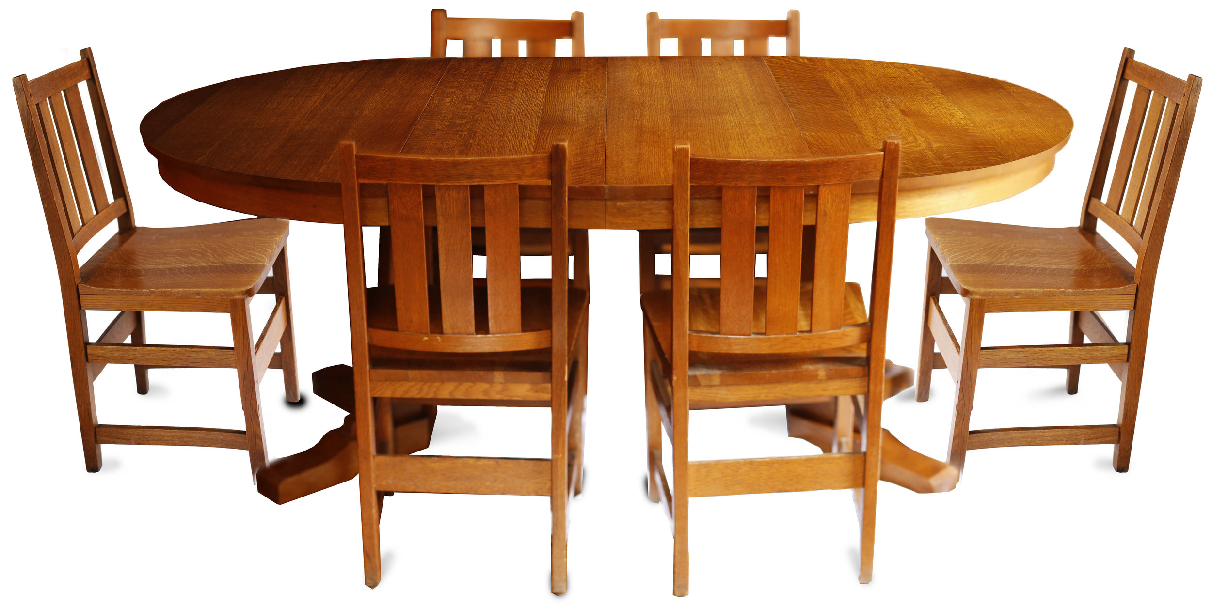Andy Warhol\'s Six Stickley Dining Chairs from the Factory and Extending  Table — KLISMOS Gallery