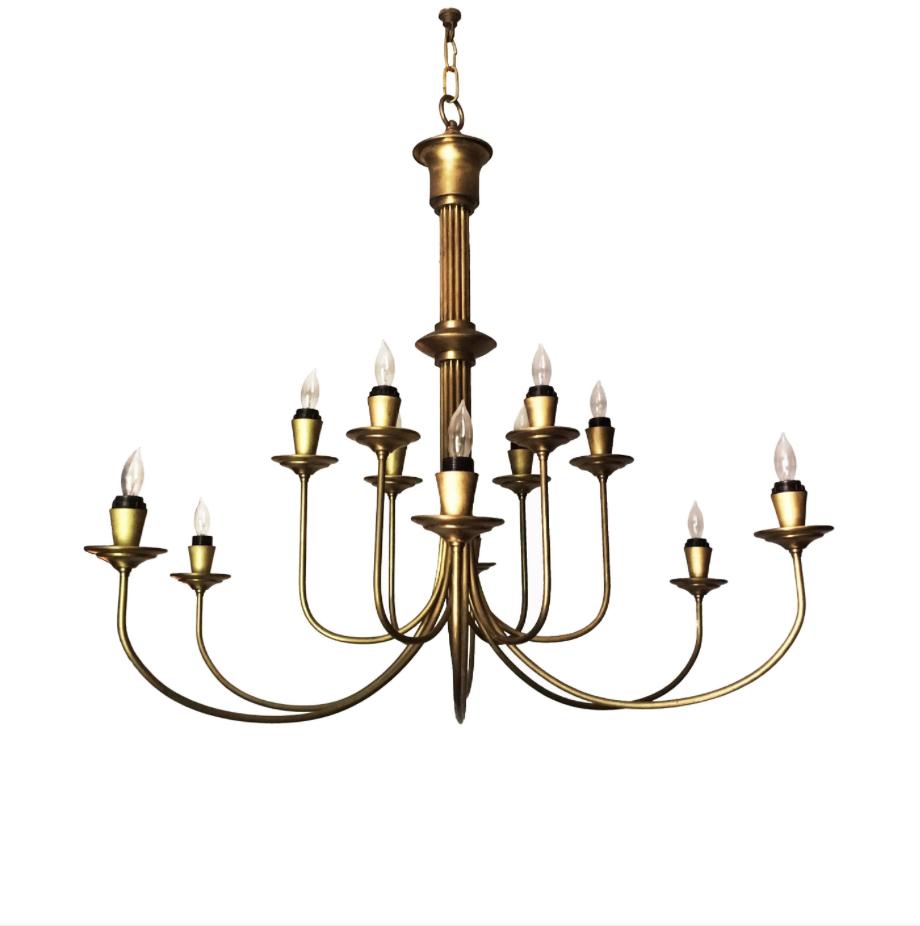 Mid 20th Century Modern Twelve Light Brass Chandelier Klismos Gallery